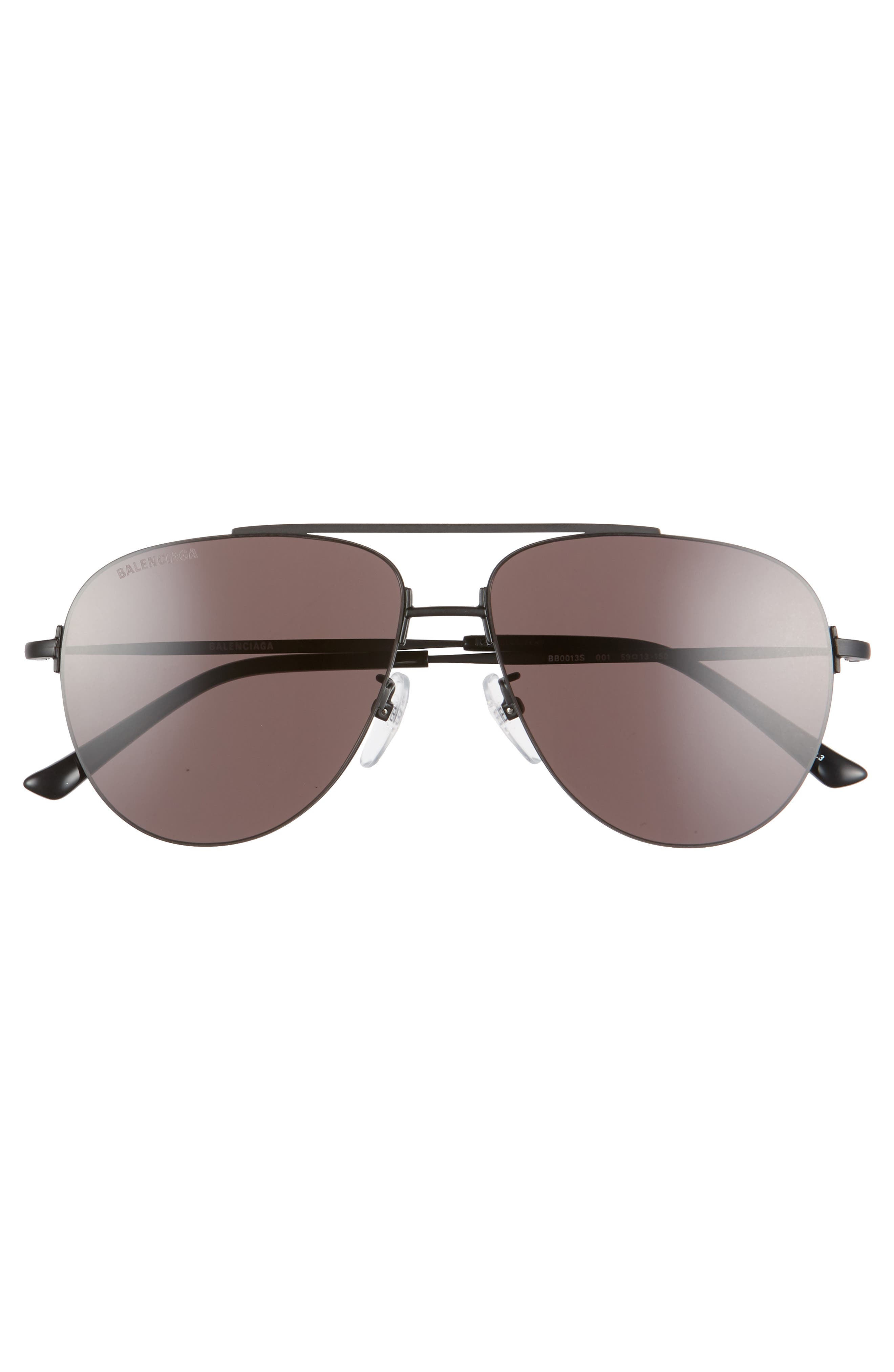 BALENCIAGA, 59mm Aviator Sunglasses, Alternate thumbnail 3, color, SEMI-MATTE BLACK/ GREY