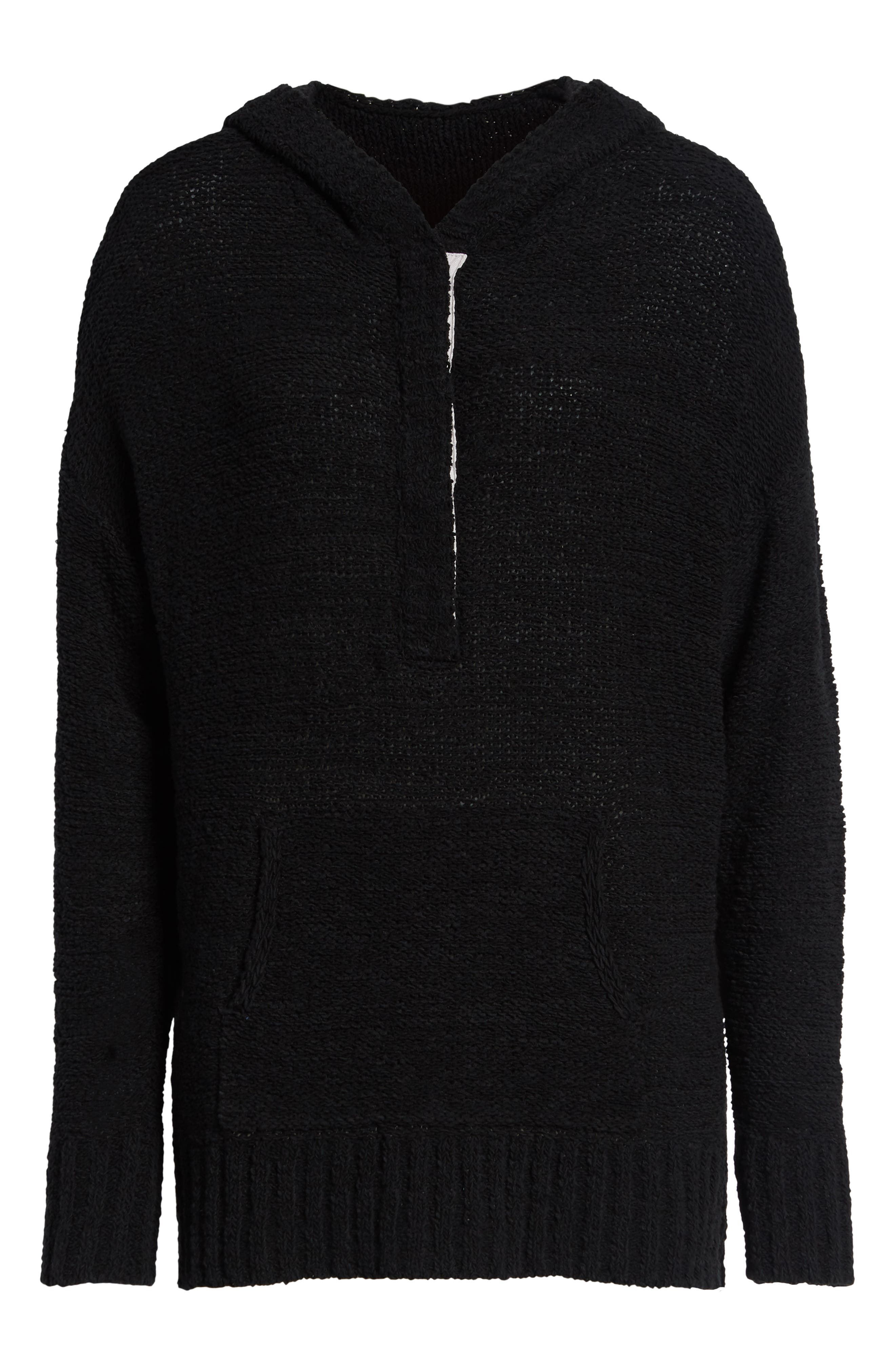 CASLON<SUP>®</SUP>, Beachy Hooded Knit Sweater, Alternate thumbnail 6, color, 001