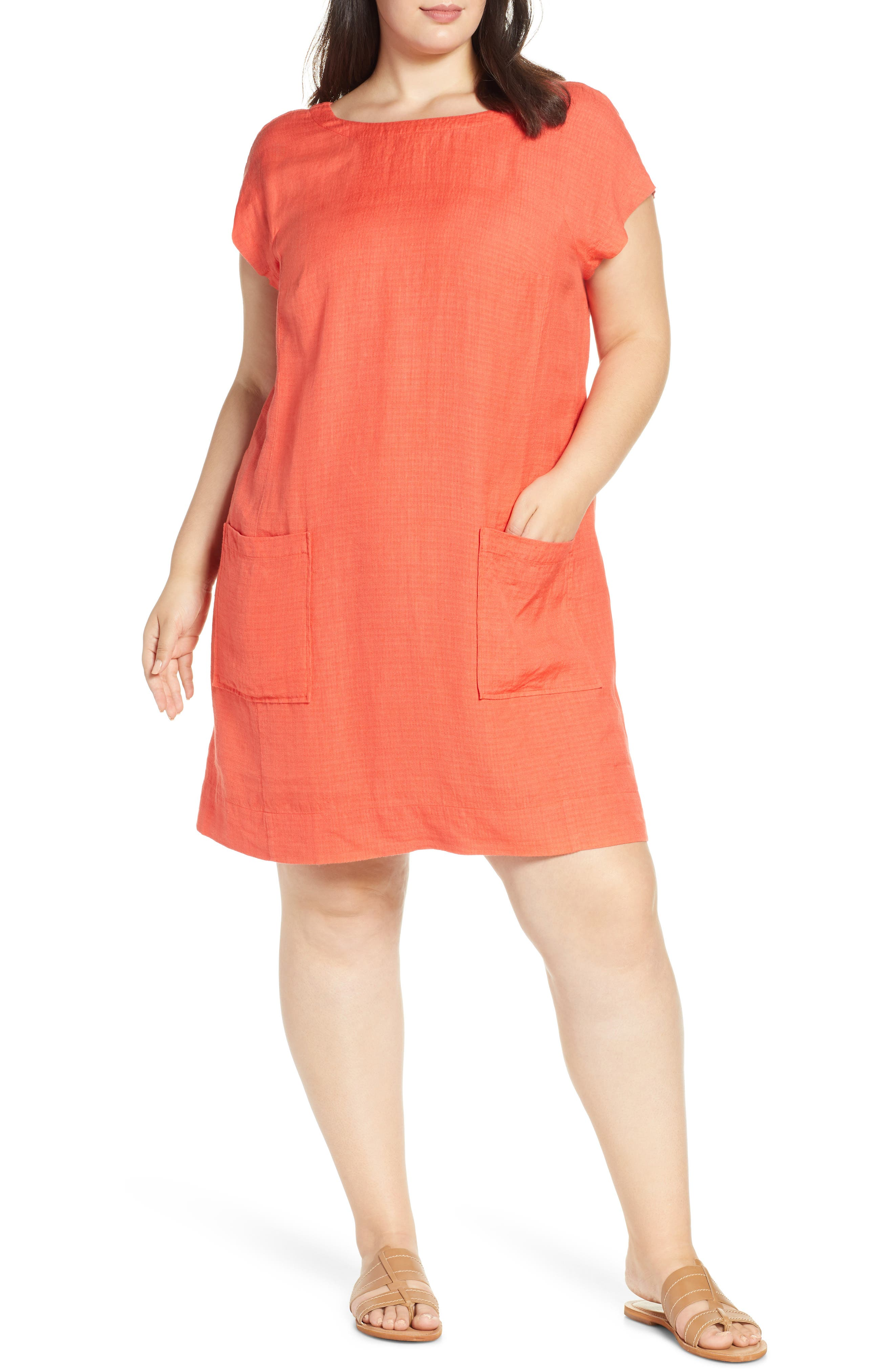 Plus Size Eileen Fisher Boatneck Linen Blend Shift Dress, Red