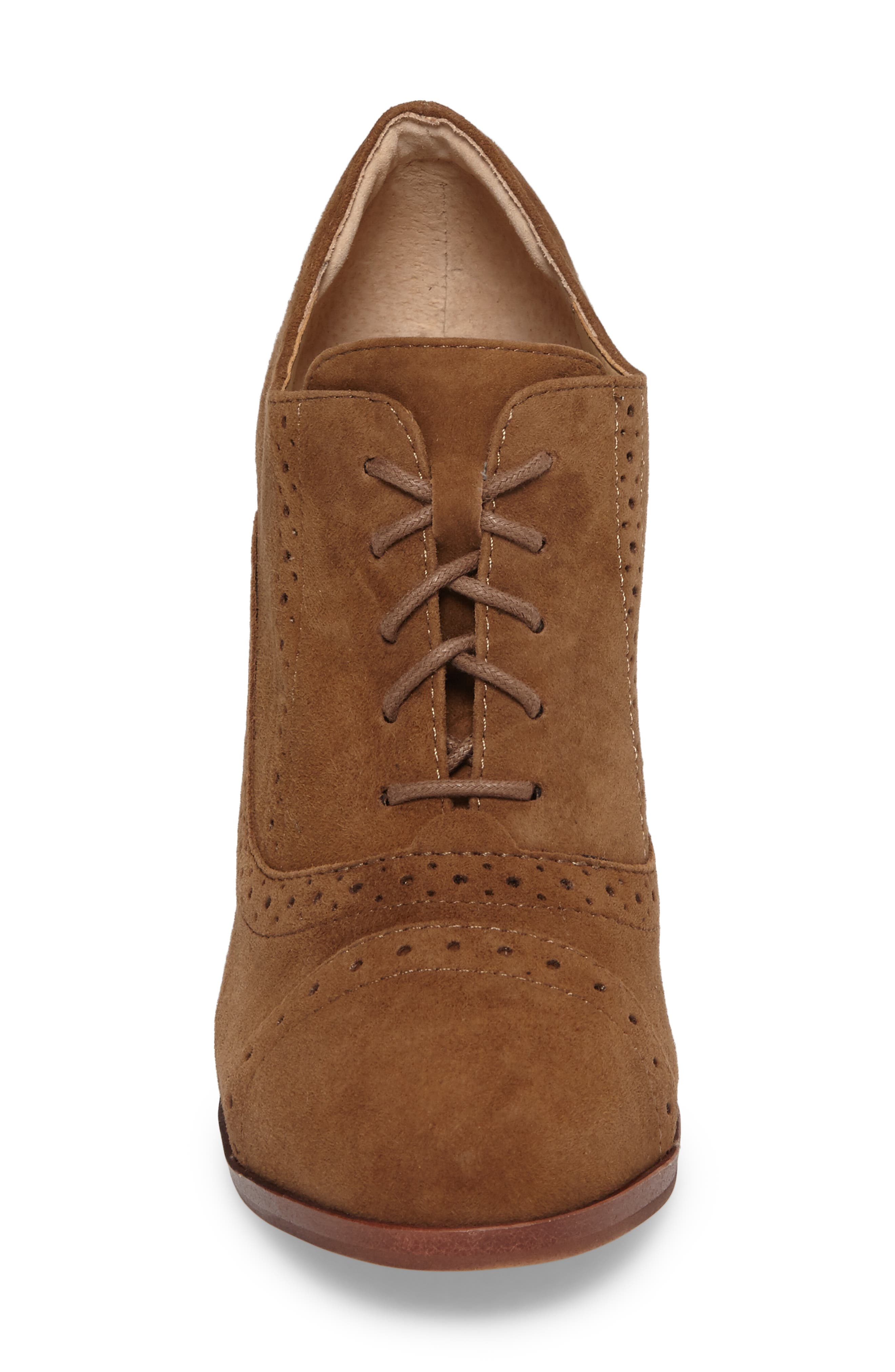ISOLÁ, Holli Oxford Pump, Alternate thumbnail 4, color, LIGHT BROWN SUEDE