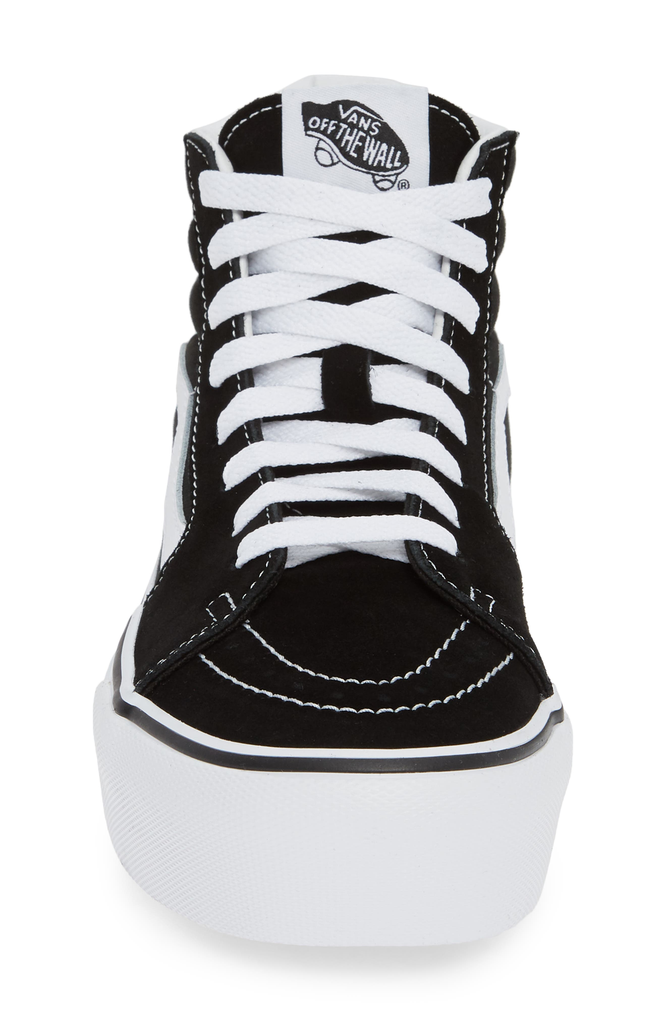 VANS, Sk8-Hi Platform Sneaker, Alternate thumbnail 4, color, BLACK/ TRUE WHITE
