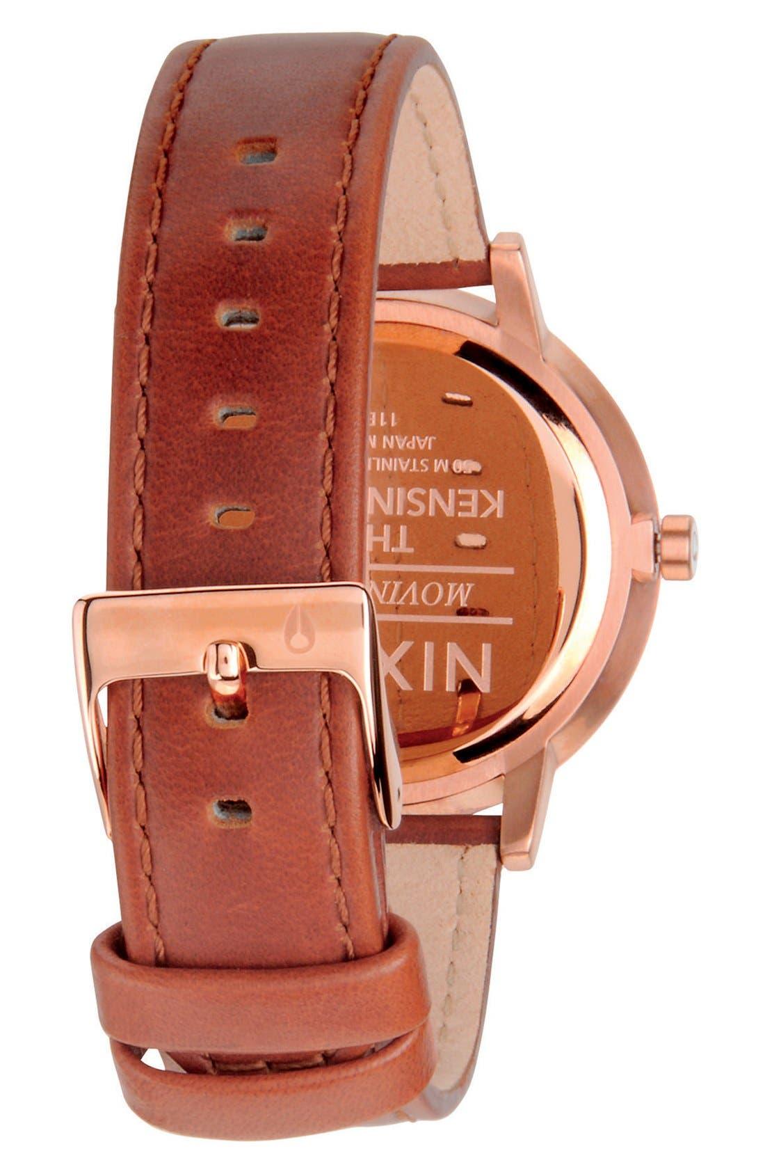 NIXON, 'The Kensington' Leather Strap Watch, 37mm, Alternate thumbnail 2, color, BROWN/ ROSE GOLD/ WHITE