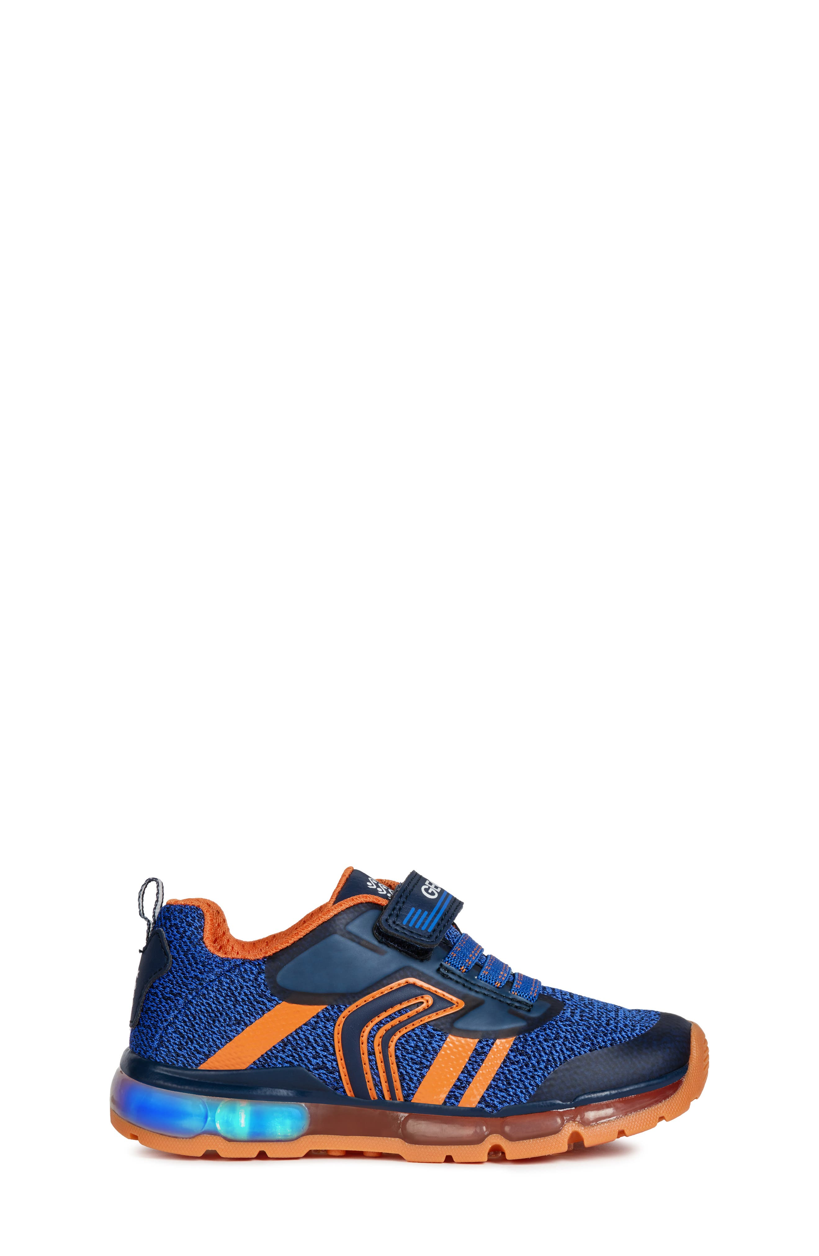 GEOX, Android 19 Light-Up Sneaker, Alternate thumbnail 3, color, NAVY/ ORANGE