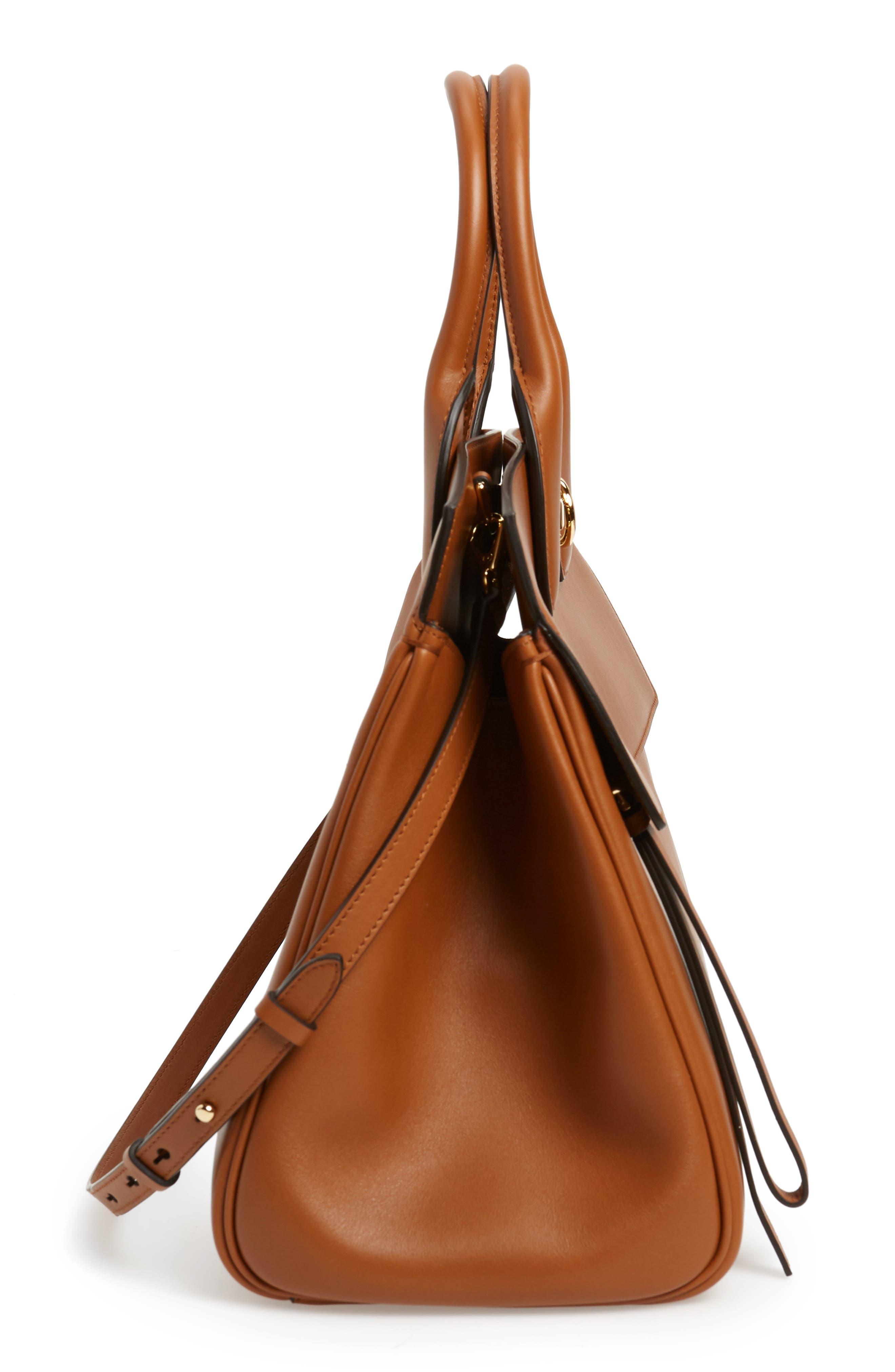 SALVATORE FERRAGAMO, Medium The Studio Calfskin Leather Top Handle Bag, Alternate thumbnail 5, color, SELLA