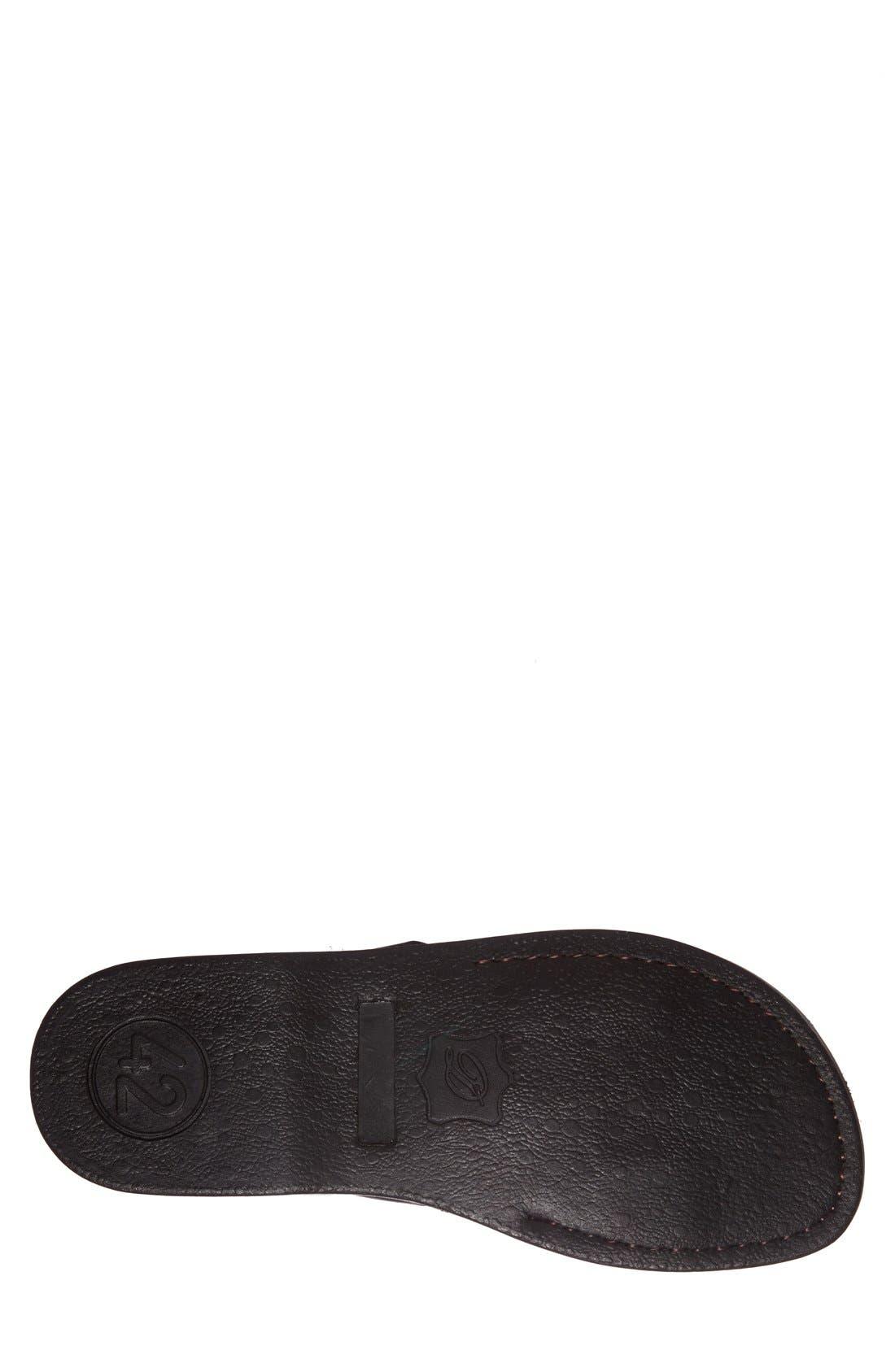 JERUSALEM SANDALS, 'Aviv' Leather Sandal, Alternate thumbnail 4, color, BLACK