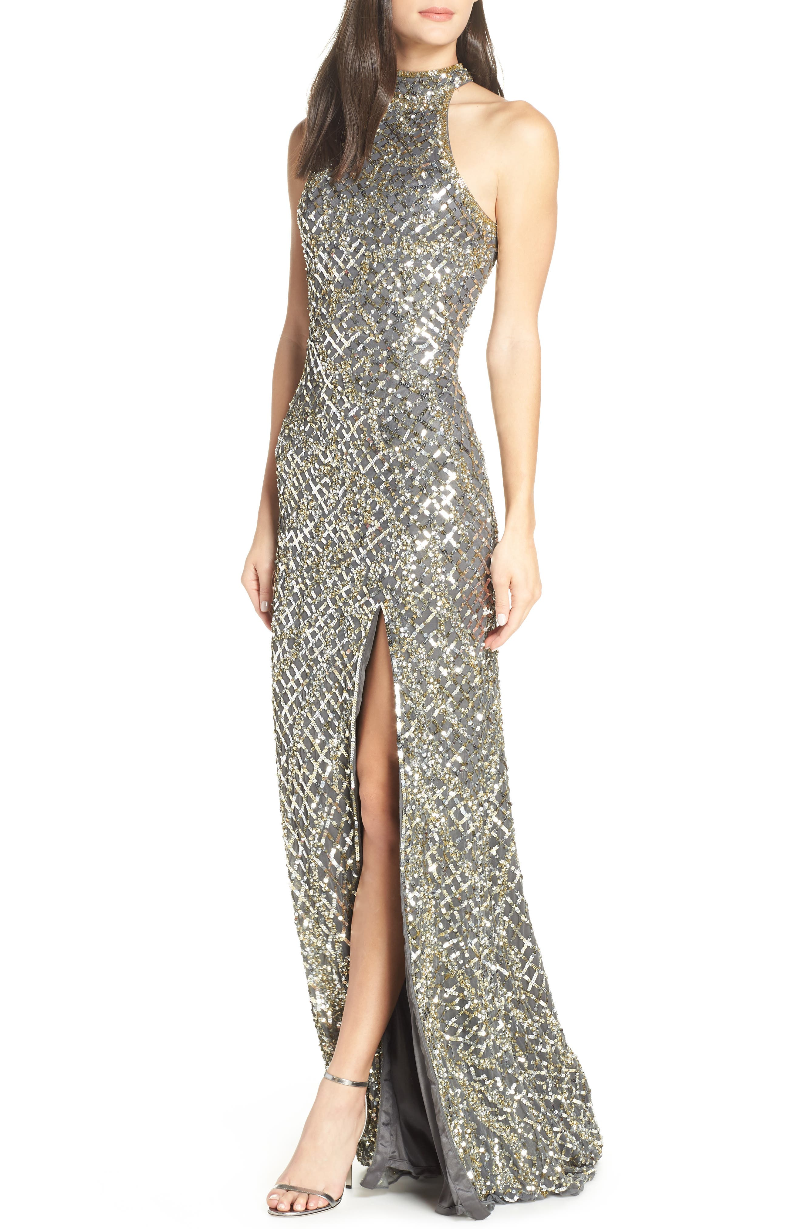 MAC DUGGAL, Beaded A-Line Halter Gown, Main thumbnail 1, color, PLATINUM