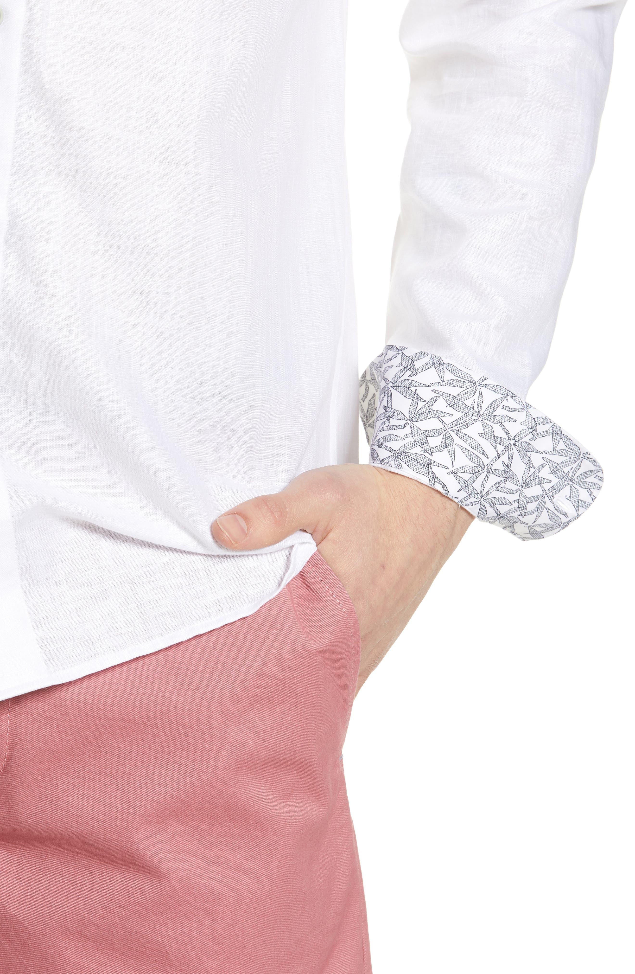 TED BAKER LONDON, Emuu Slim Fit Linen Shirt, Alternate thumbnail 4, color, WHITE