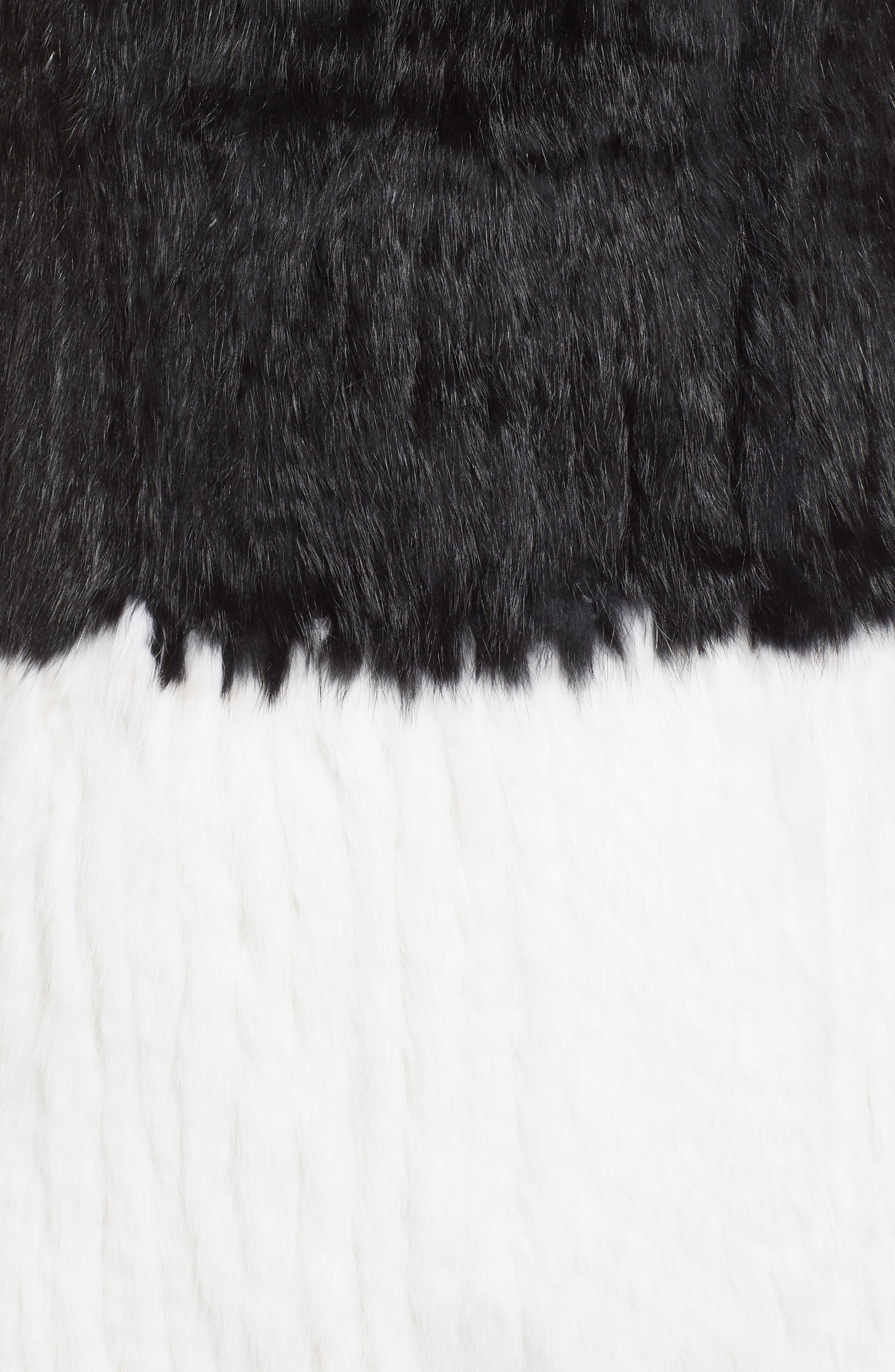 LOVE TOKEN, Long Colorblock Genuine Rabbit Fur Vest, Alternate thumbnail 7, color, 001