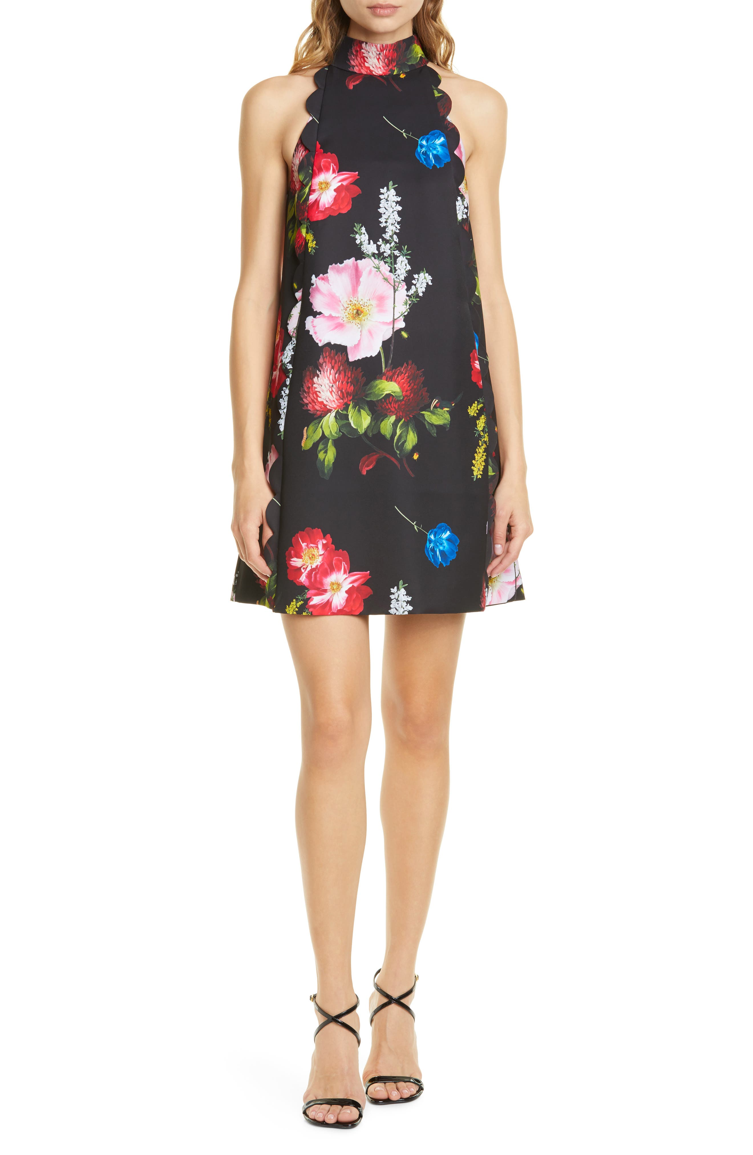 Ted Baker London Berry Sundae Floral Scallop Shift Dress, Black