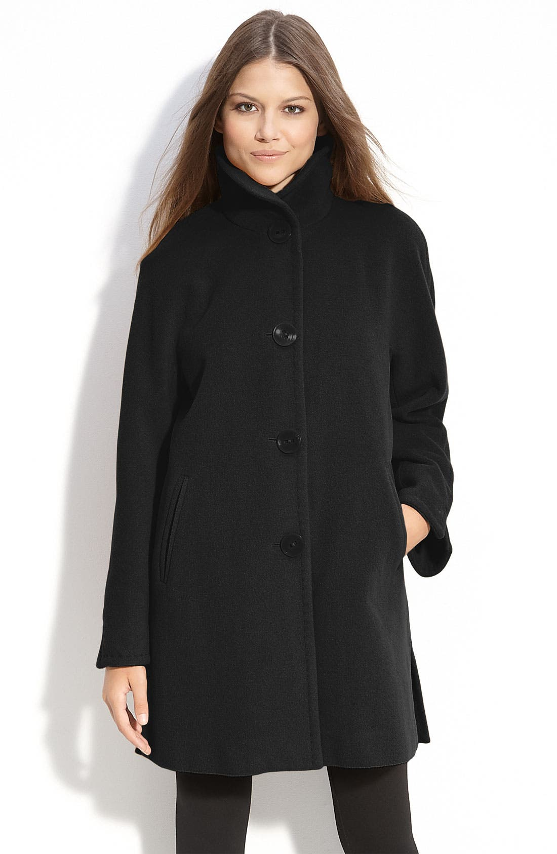 ELLEN TRACY, A-Line Wool Blend Coat, Main thumbnail 1, color, 001