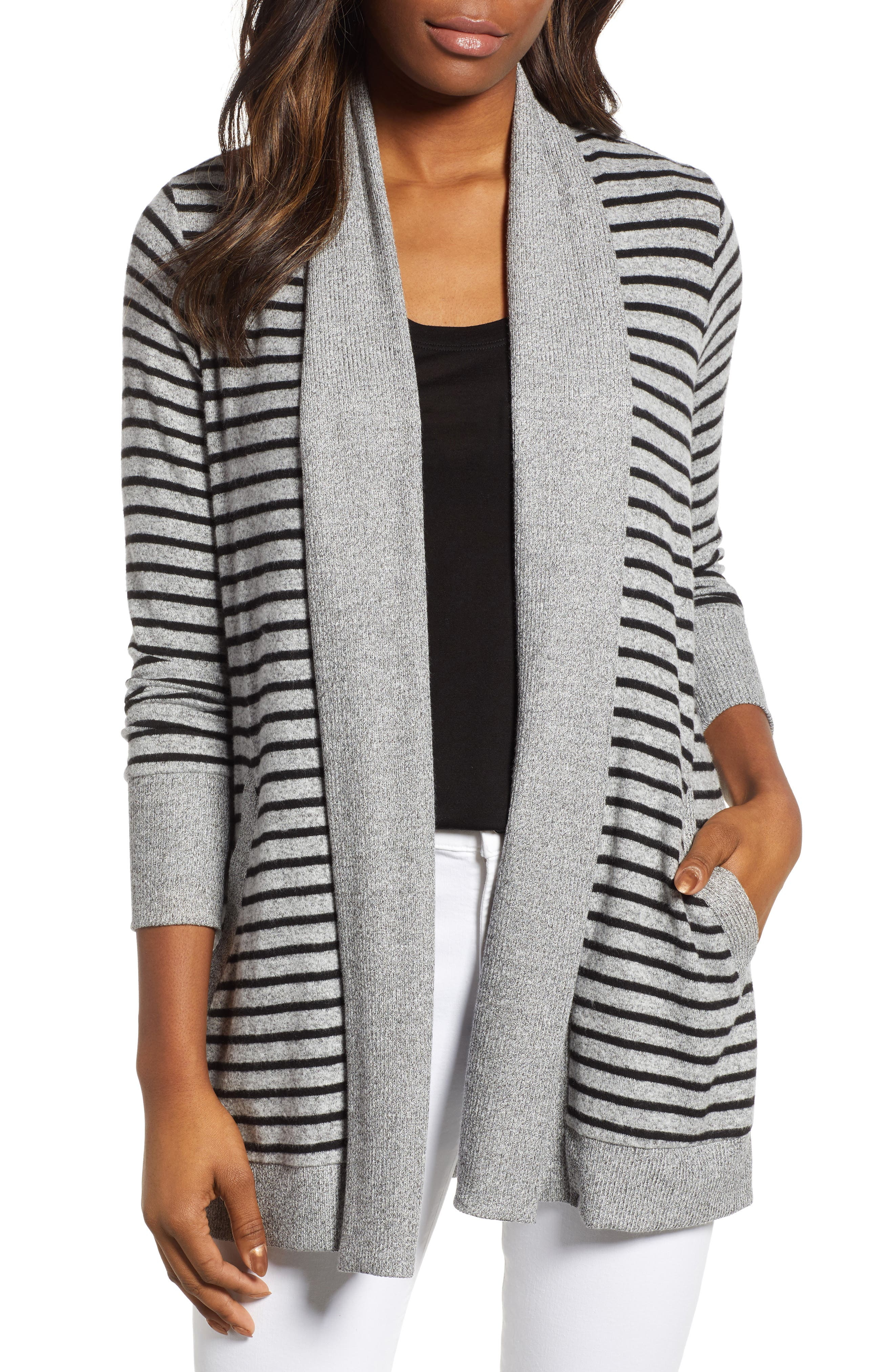 GIBSON, Cozy Ribbed Cardigan, Main thumbnail 1, color, GREY/ BLACK STRIPE