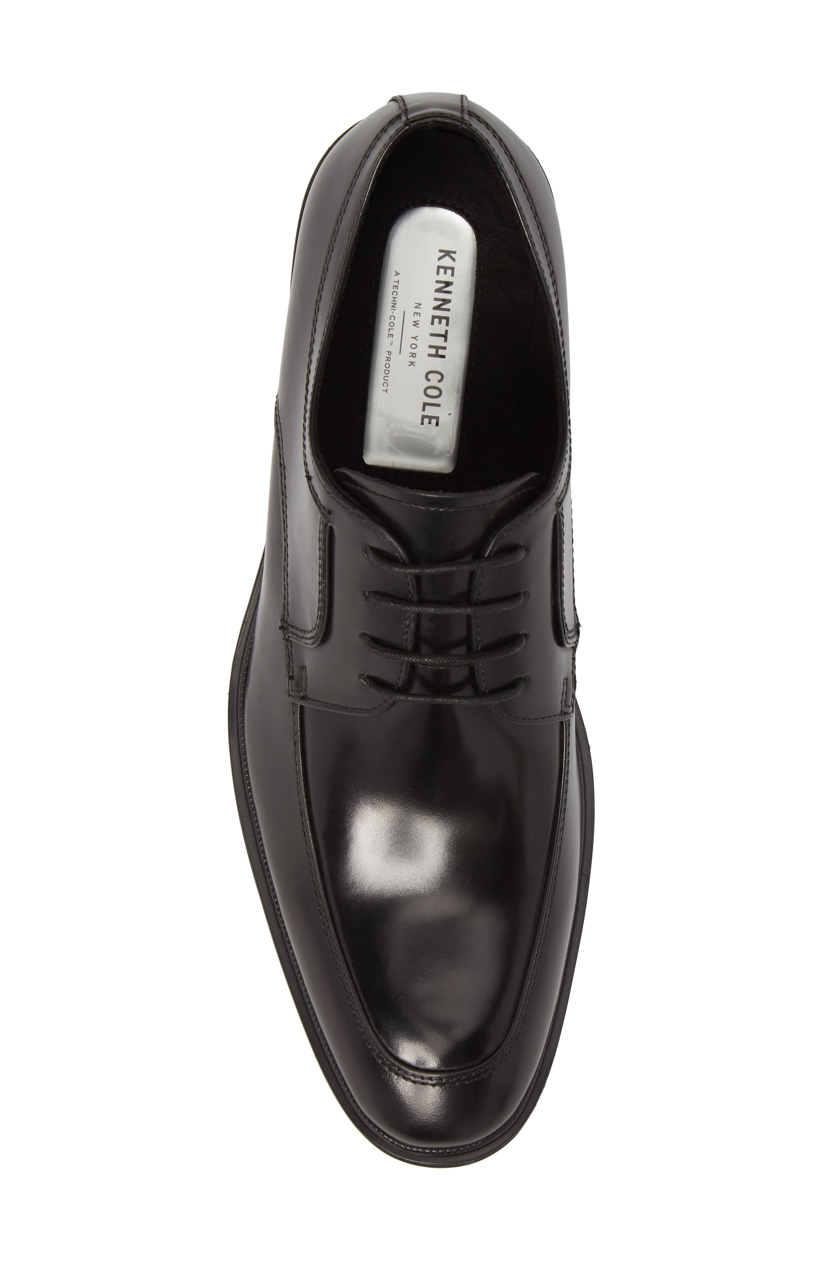 KENNETH COLE NEW YORK, Tully Apron Toe Derby, Alternate thumbnail 5, color, BLACK LEATHER