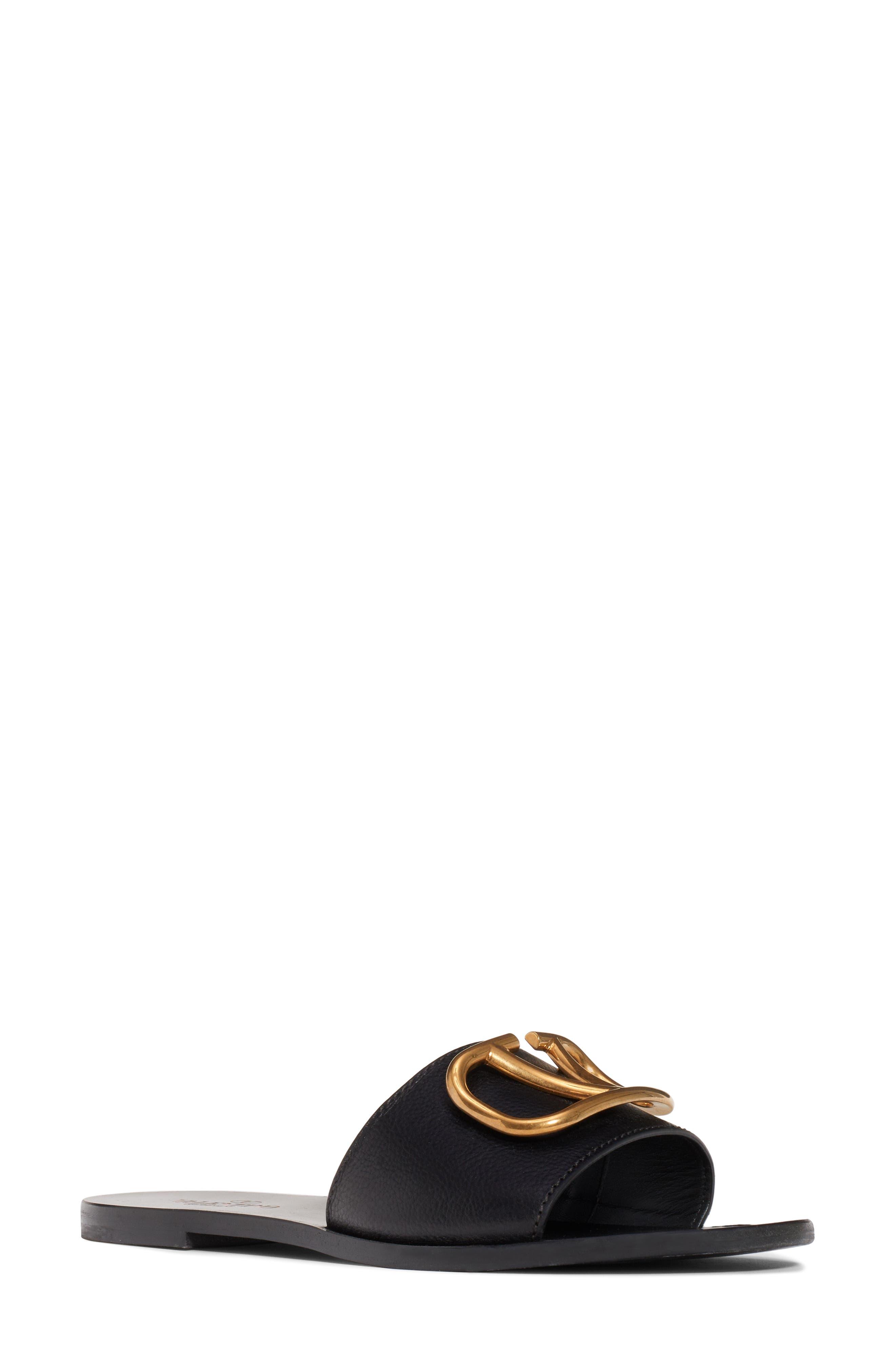 VALENTINO GARAVANI, Brooch Slide Sandal, Main thumbnail 1, color, BLACK