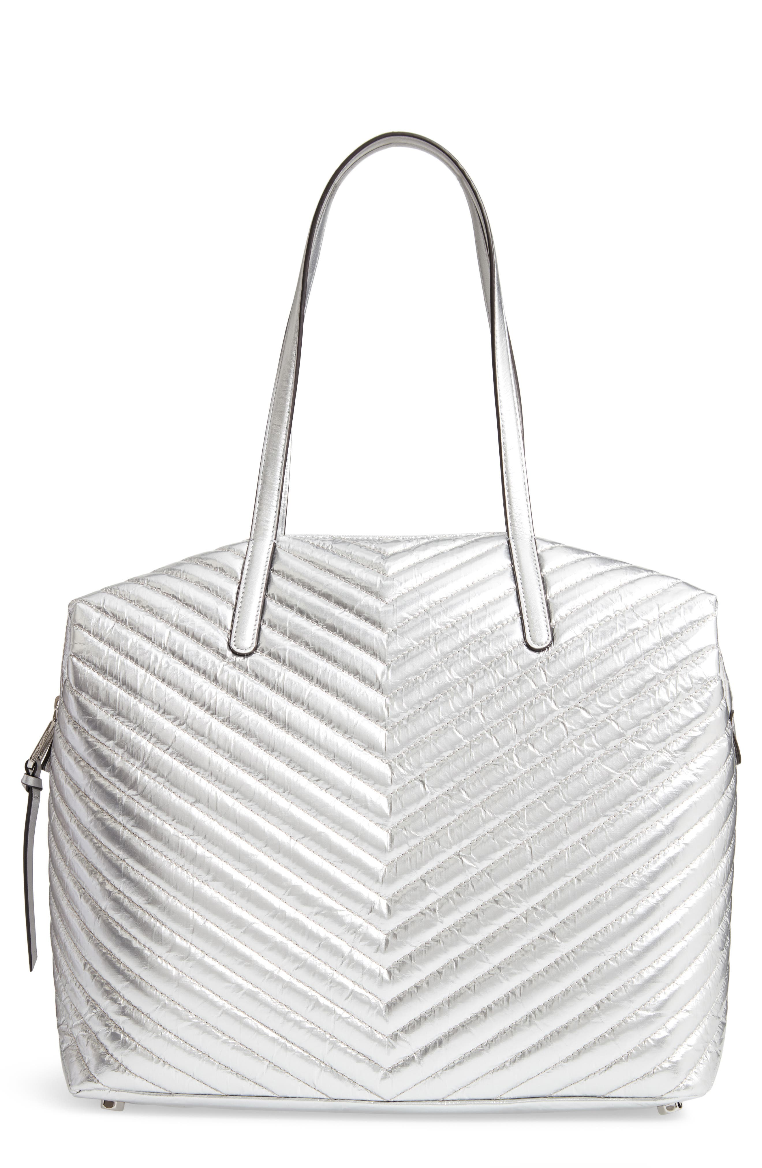 REBECCA MINKOFF, Quilted Nylon Tote, Main thumbnail 1, color, 040
