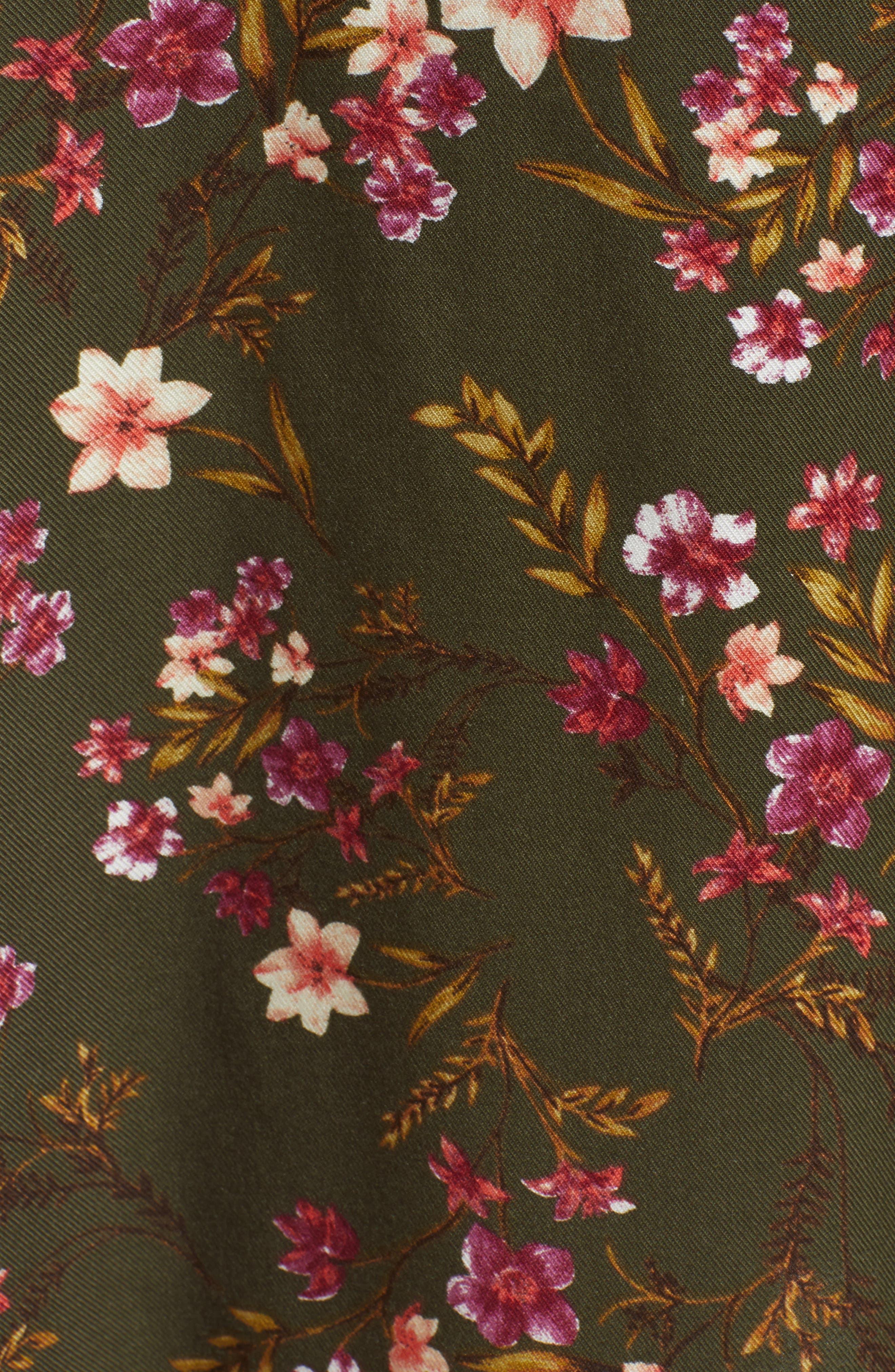 BP., Floral Midi Dress, Alternate thumbnail 6, color, OLIVE BURNT SAVANNAH FLORAL