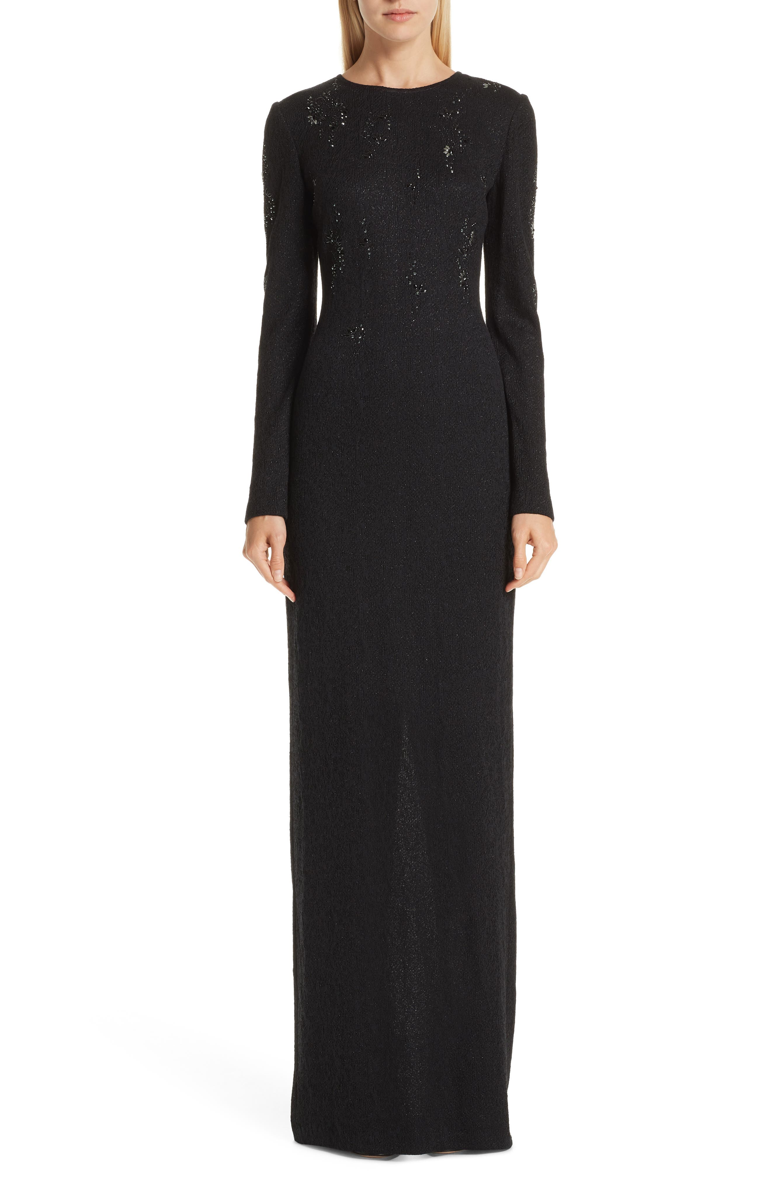 ST. JOHN COLLECTION Lace Overlay Jacquard Knit Gown, Main, color, CAVIAR
