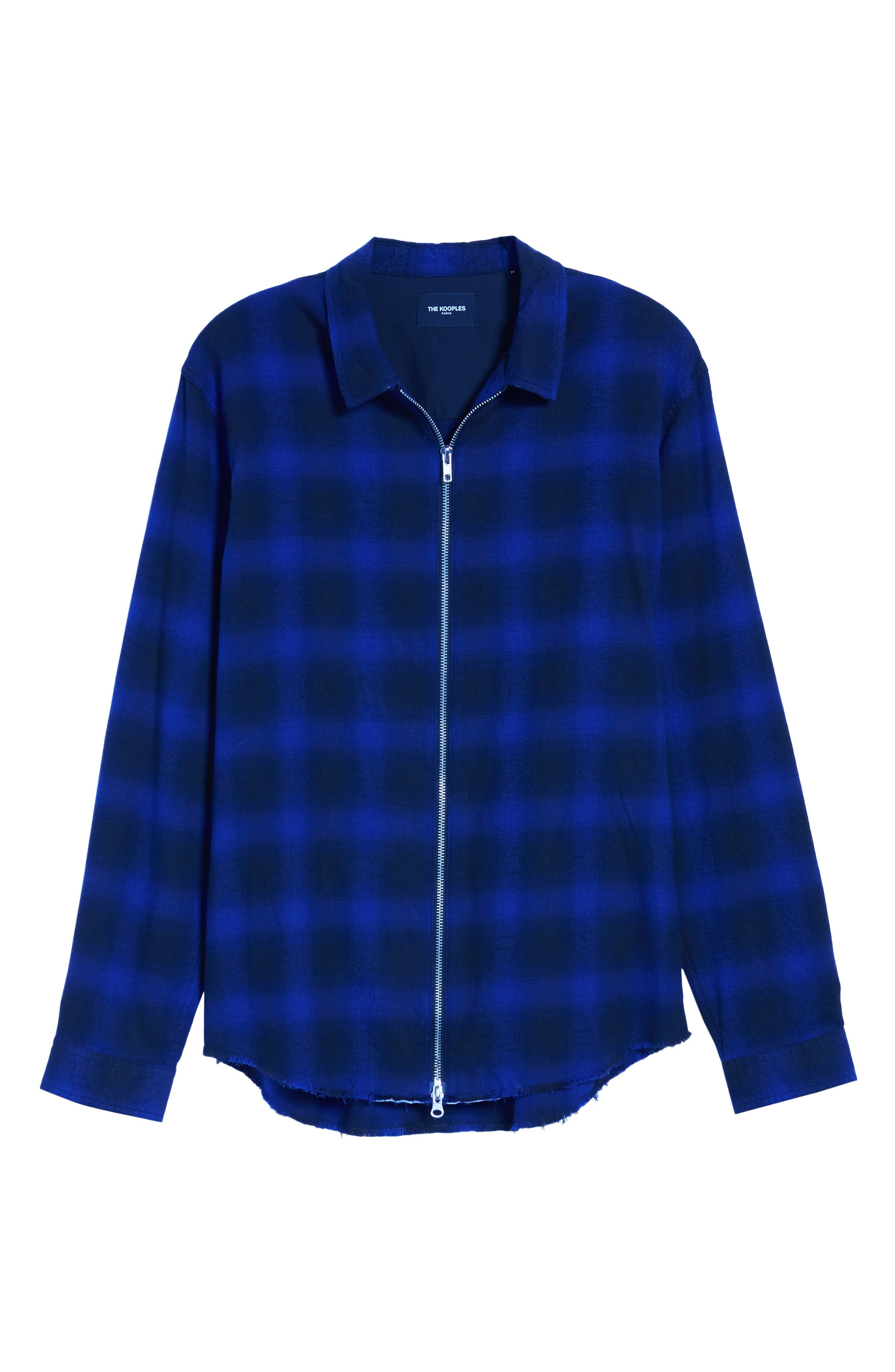 THE KOOPLES, Zip Flannel Jacket, Alternate thumbnail 5, color, BLUE BLACK