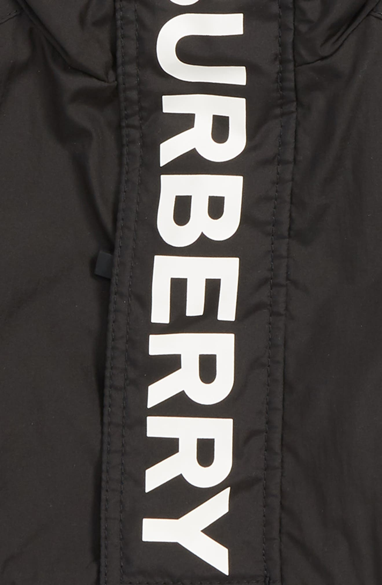 BURBERRY, Austin Logo Hooded Windbreaker, Alternate thumbnail 2, color, BLACK