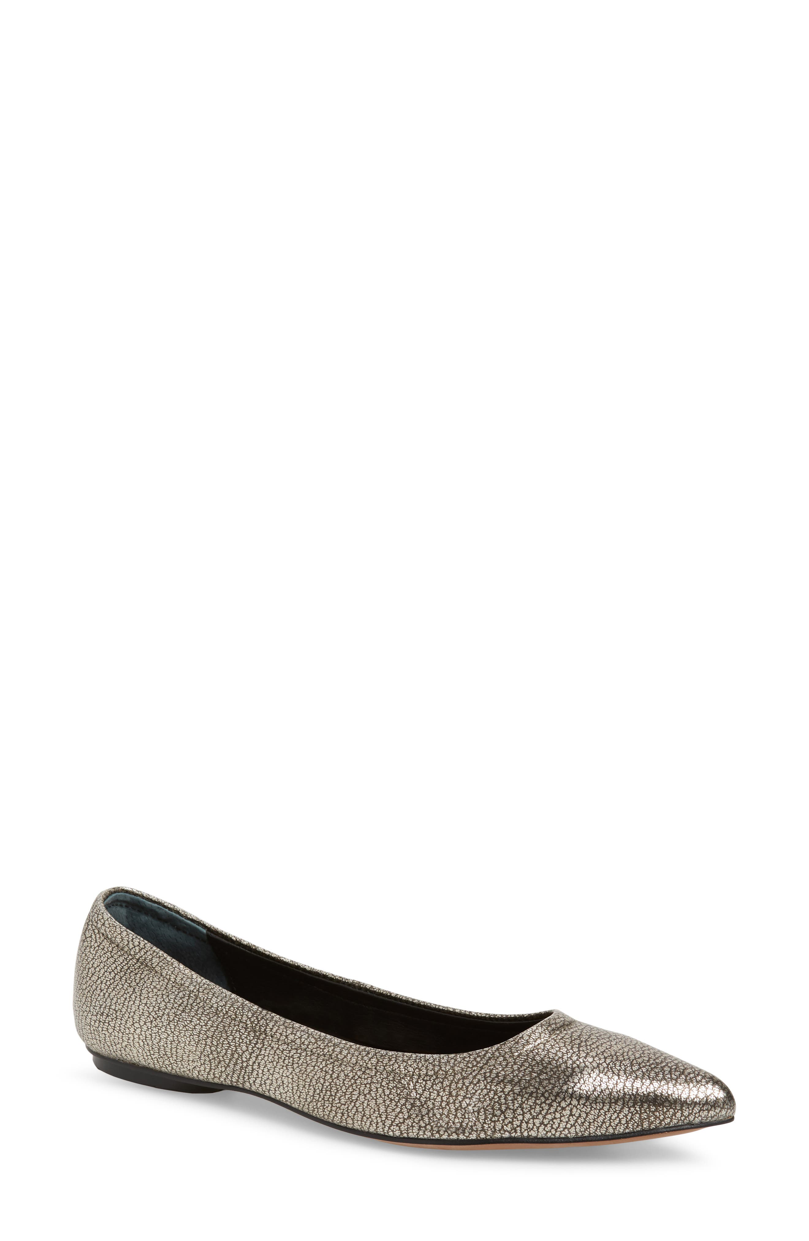 LINEA PAOLO, Nico Pointy Toe Flat, Main thumbnail 1, color, ANTHRACITE LEATHER