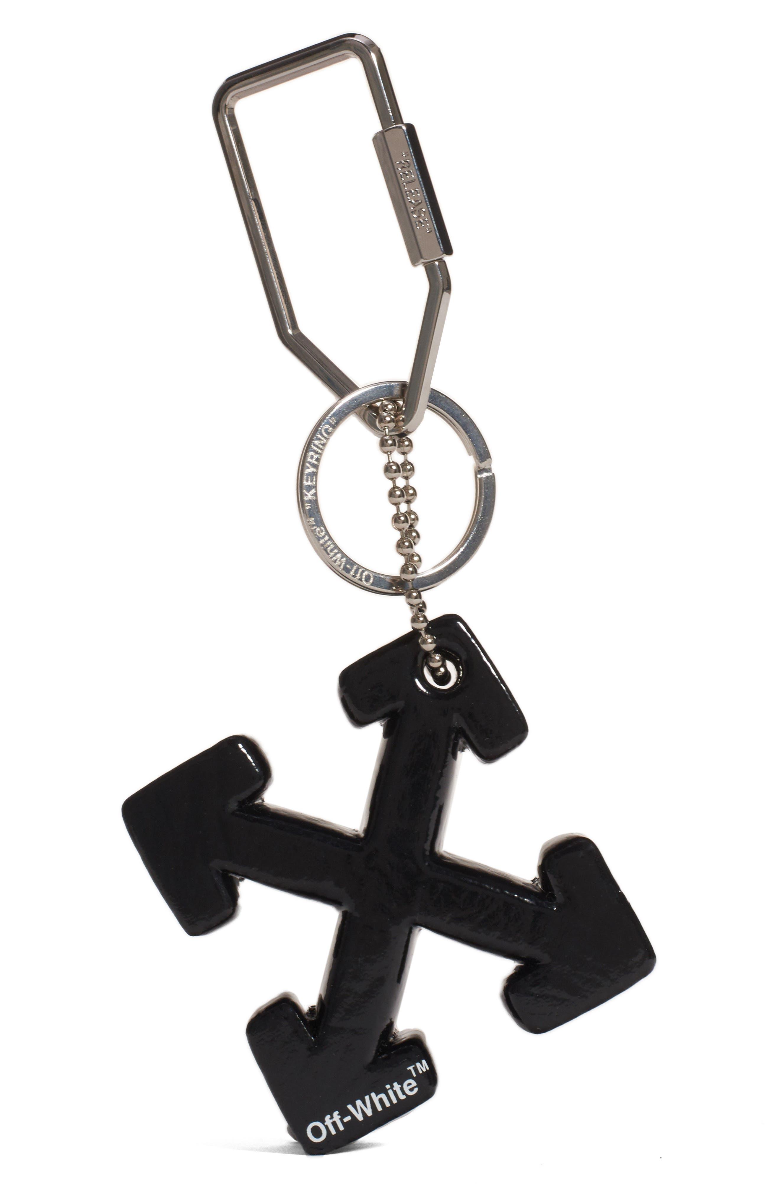 OFF-WHITE, Arrow Bag Charm, Alternate thumbnail 2, color, BLACK