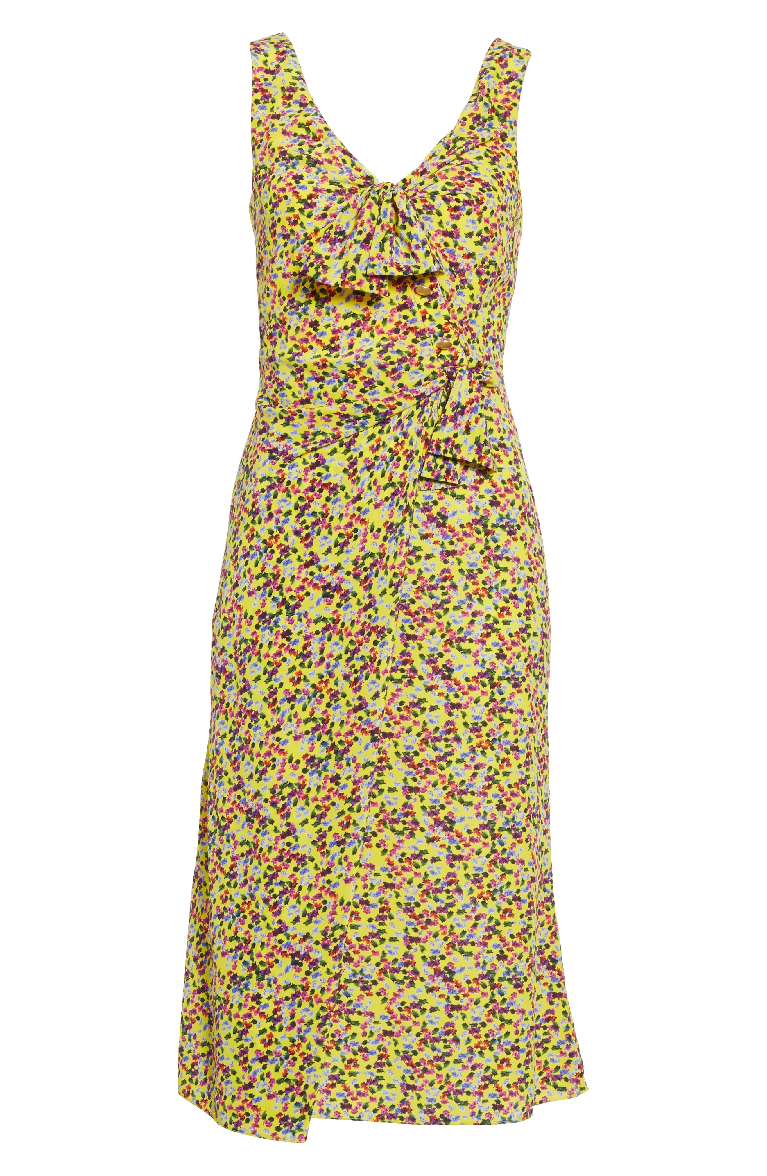 SALONI, Penelope Floral Print Silk Midi Dress, Alternate thumbnail 6, color, YELLOW GARDENIA