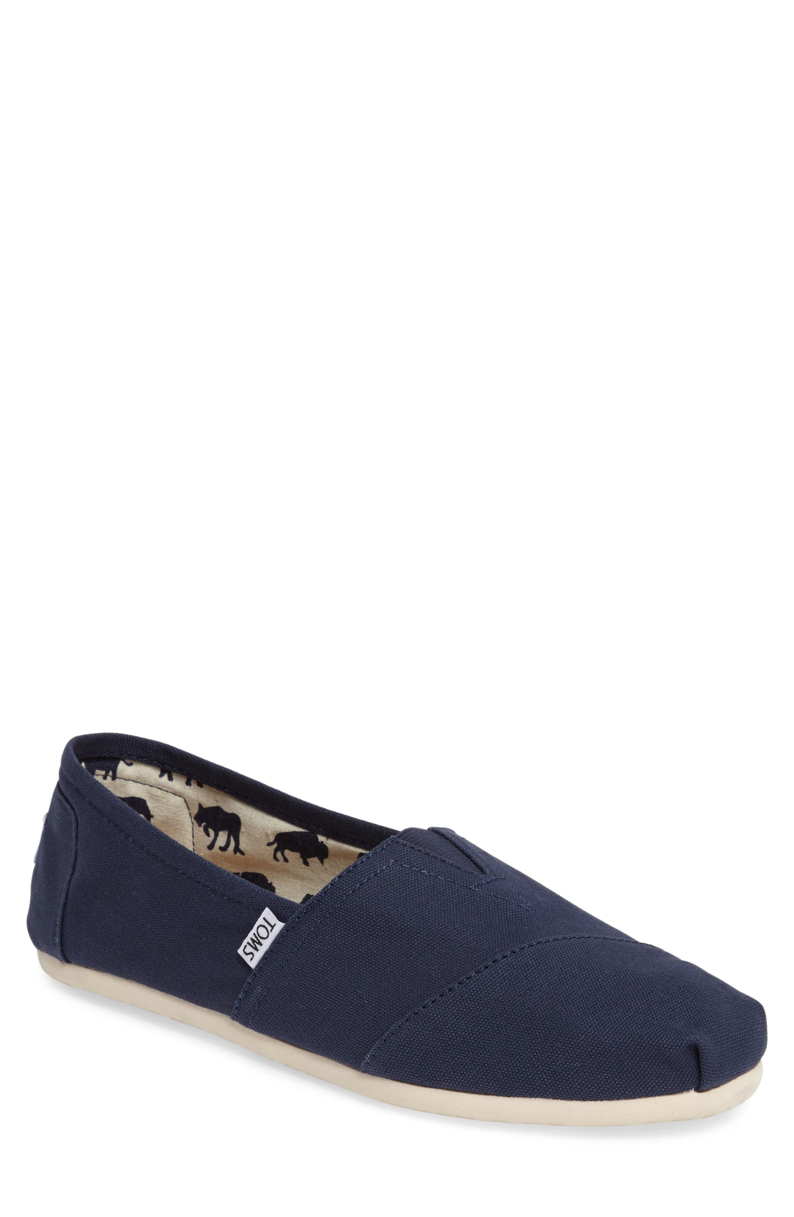 TOMS, 'Classic' Canvas Slip-On, Main thumbnail 1, color, NAVY