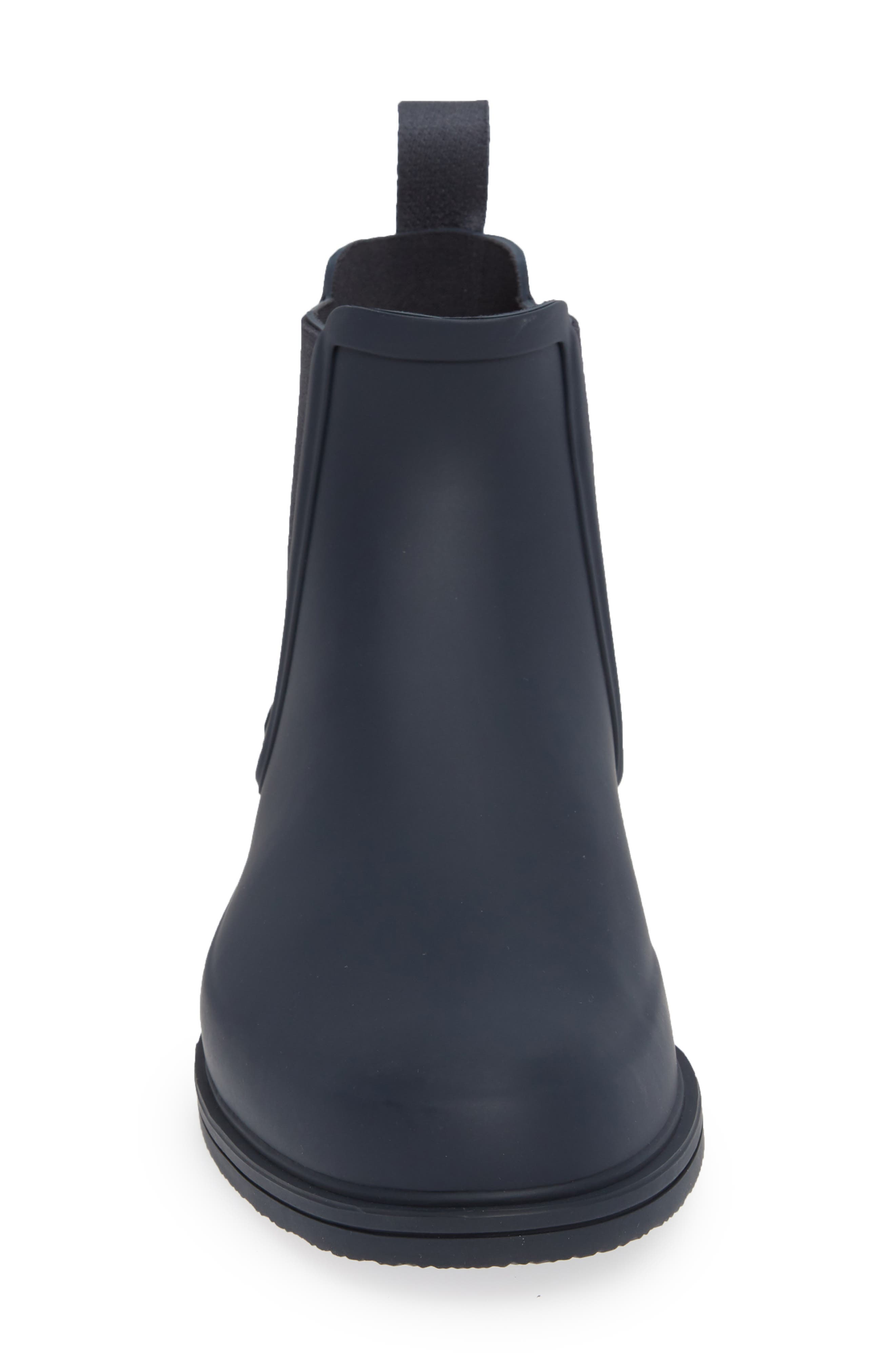 HUNTER, Original Refined Waterproof Chelsea Boot, Alternate thumbnail 4, color, NAVY RUBBER