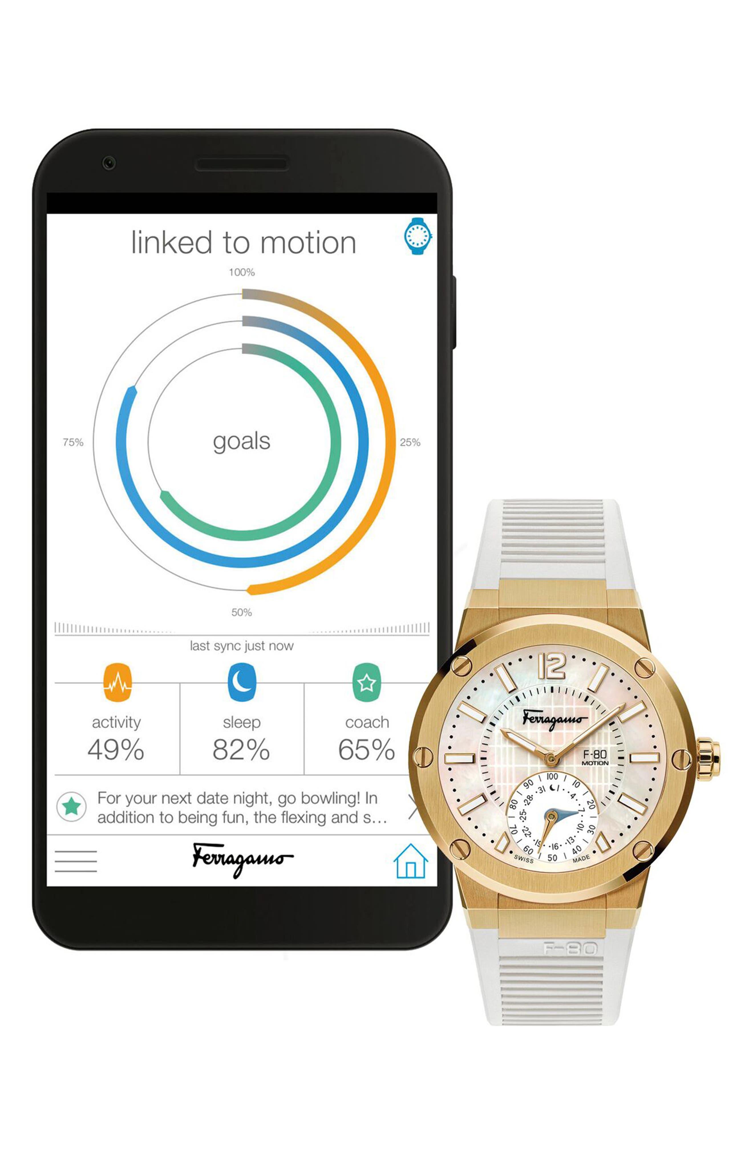SALVATORE FERRAGAMO, F-80 Motion Rubber Strap Smart Watch, 44mm, Alternate thumbnail 4, color, WHITE/ MOP/ GOLD