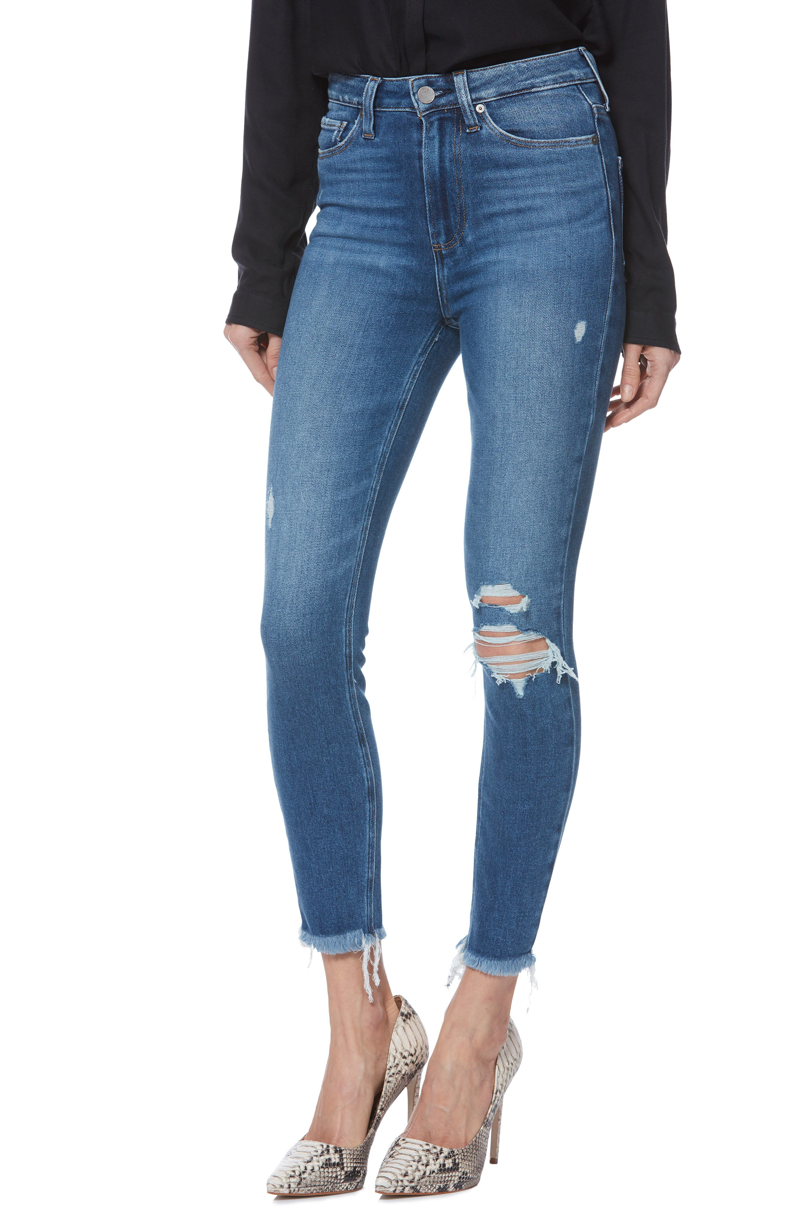 PAIGE, Margot High Waist Crop Skinny Jeans, Main thumbnail 1, color, ALESSIO DESTRUCTED