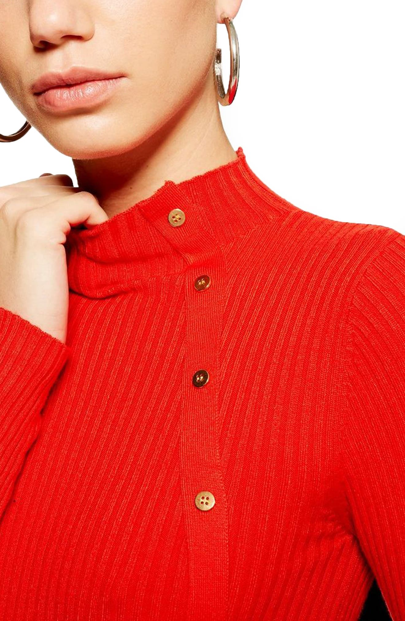 TOPSHOP, Side Button Rib Sweater, Alternate thumbnail 3, color, RED