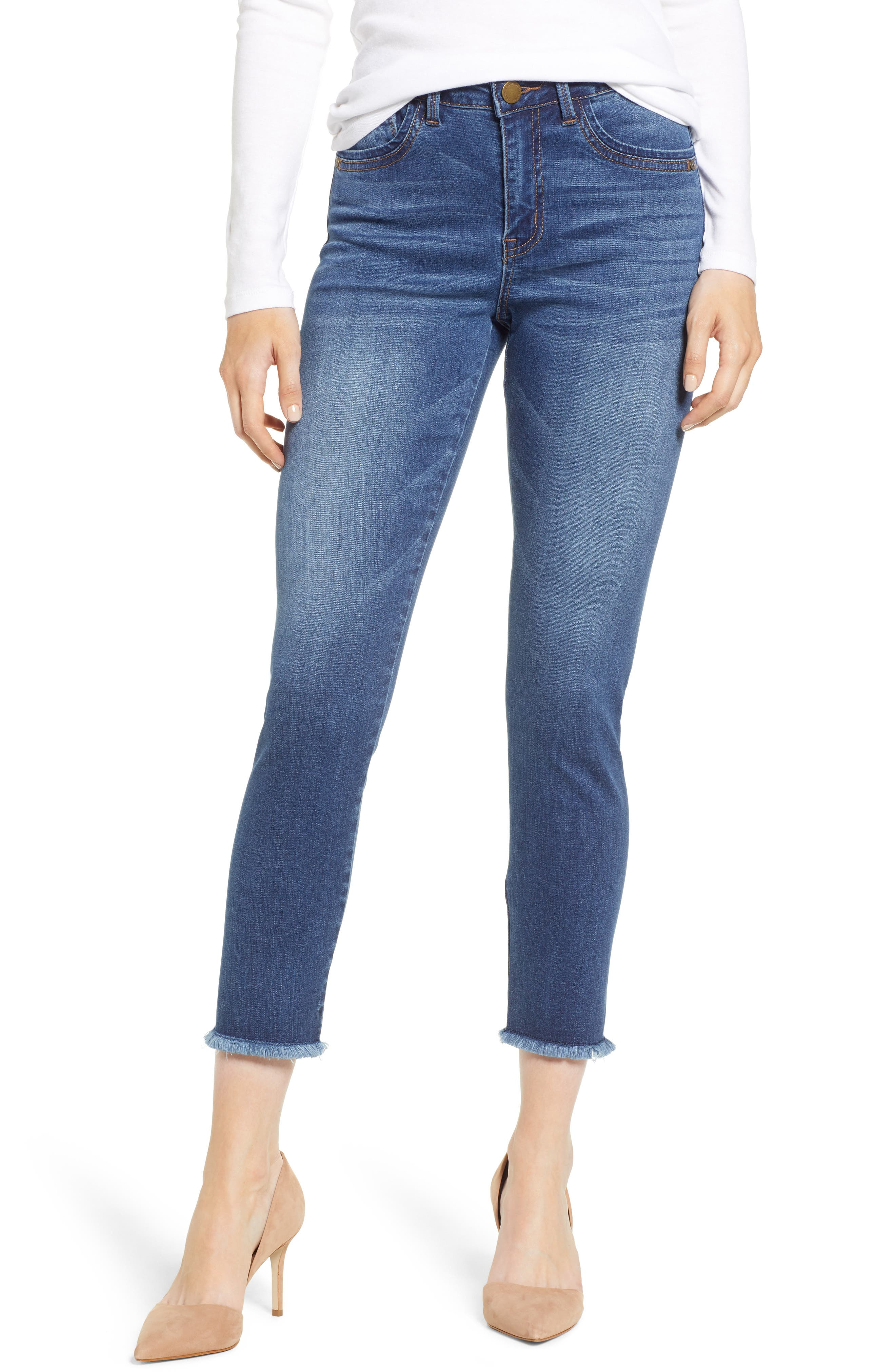 WIT & WISDOM, High Waist Fray Hem Seamless Skinny Ankle Jeans, Main thumbnail 1, color, BLUE