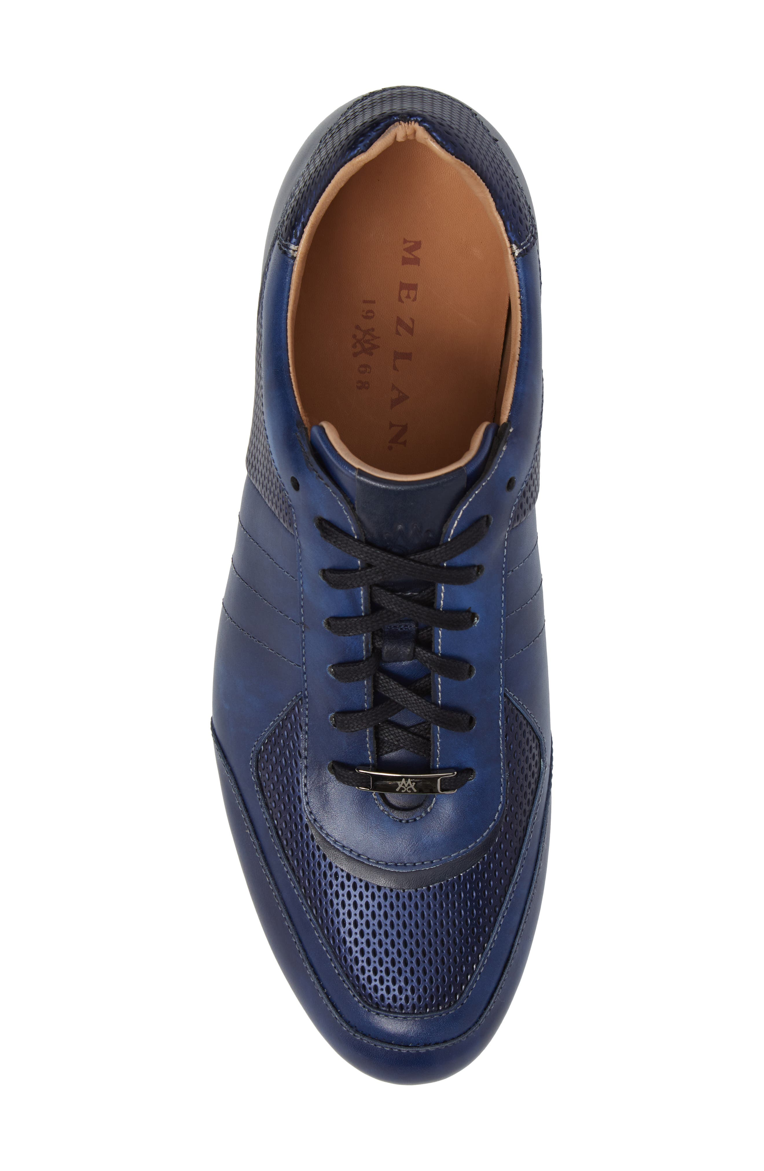MEZLAN, Redon Embossed Sneaker, Alternate thumbnail 5, color, BLUE LEATHER