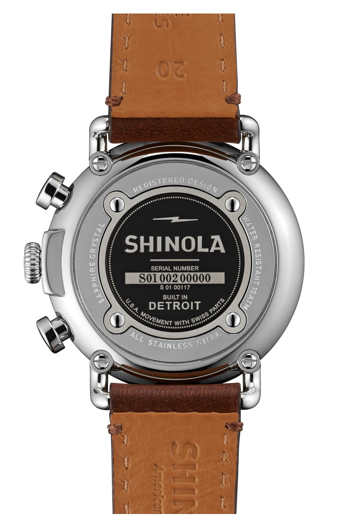 SHINOLA, 'The Runwell Chrono' Leather Strap Watch, 41mm, Alternate thumbnail 2, color, DARK BROWN/ BLUE