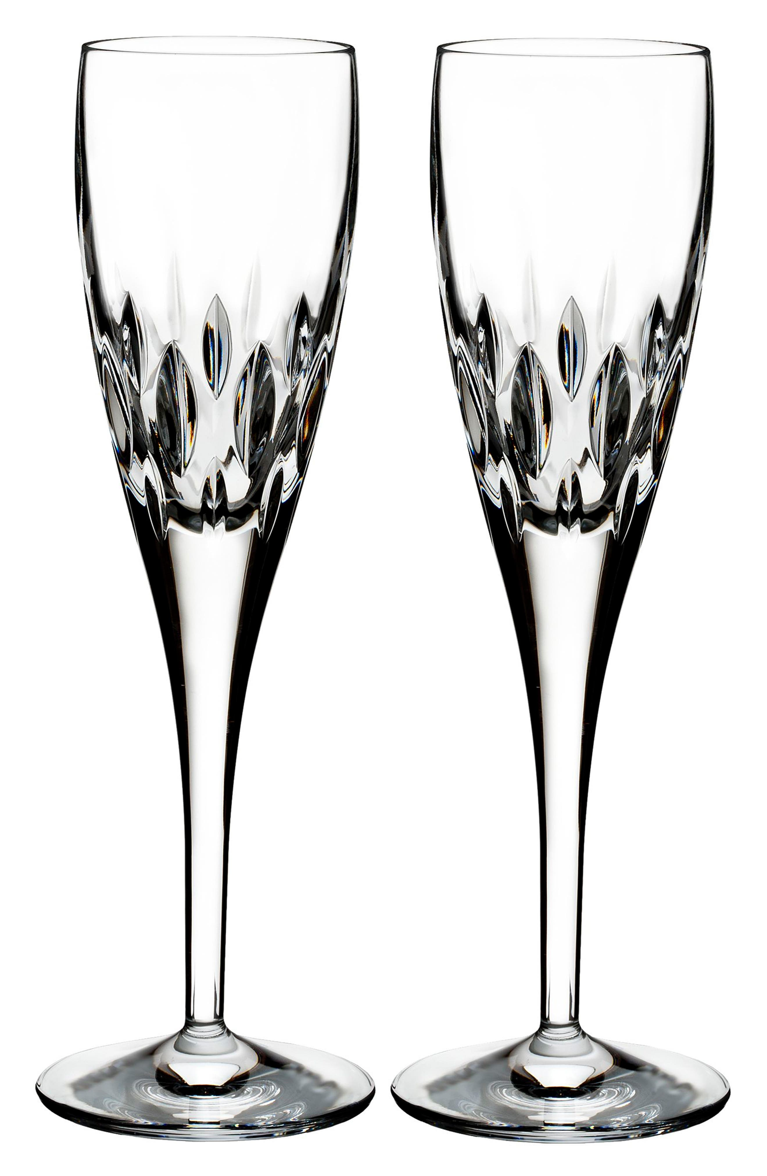WATERFORD, Enis Set of 2 Leaded Crystal Champagne Flutes, Main thumbnail 1, color, 100