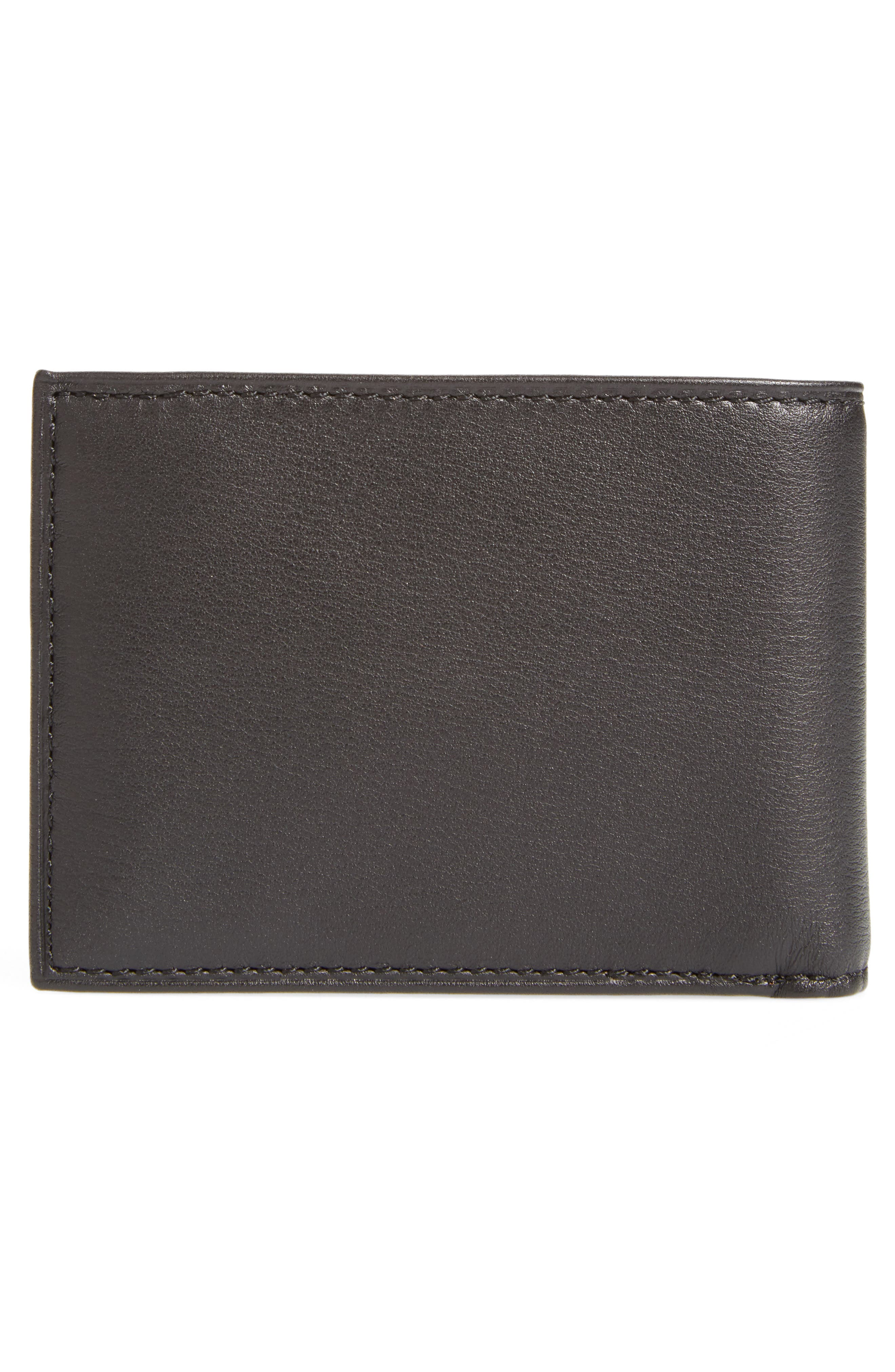 TUMI, Delta Double ID Lock<sup>™</sup> Shielded Leather Wallet, Alternate thumbnail 3, color, BLACK
