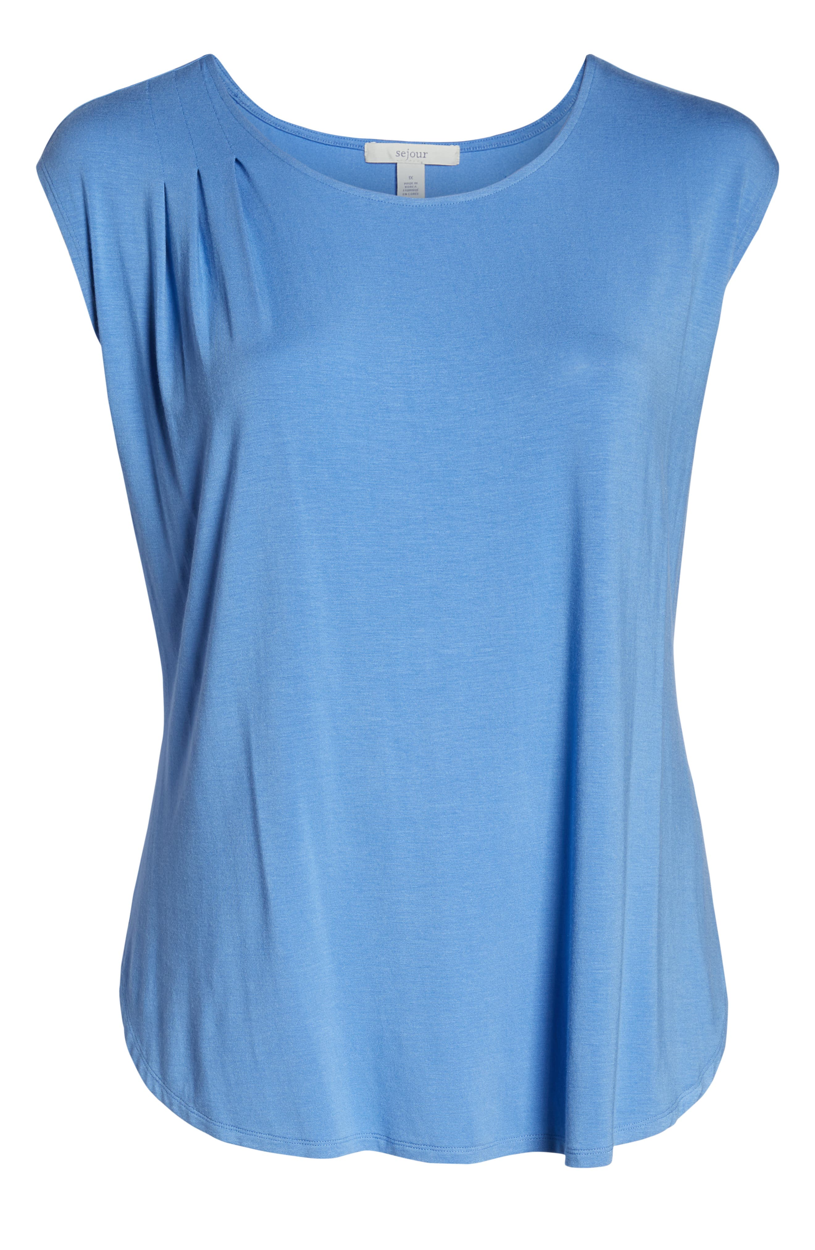 SEJOUR, Cap Sleeve Drape Top, Alternate thumbnail 6, color, BLUE YONDER