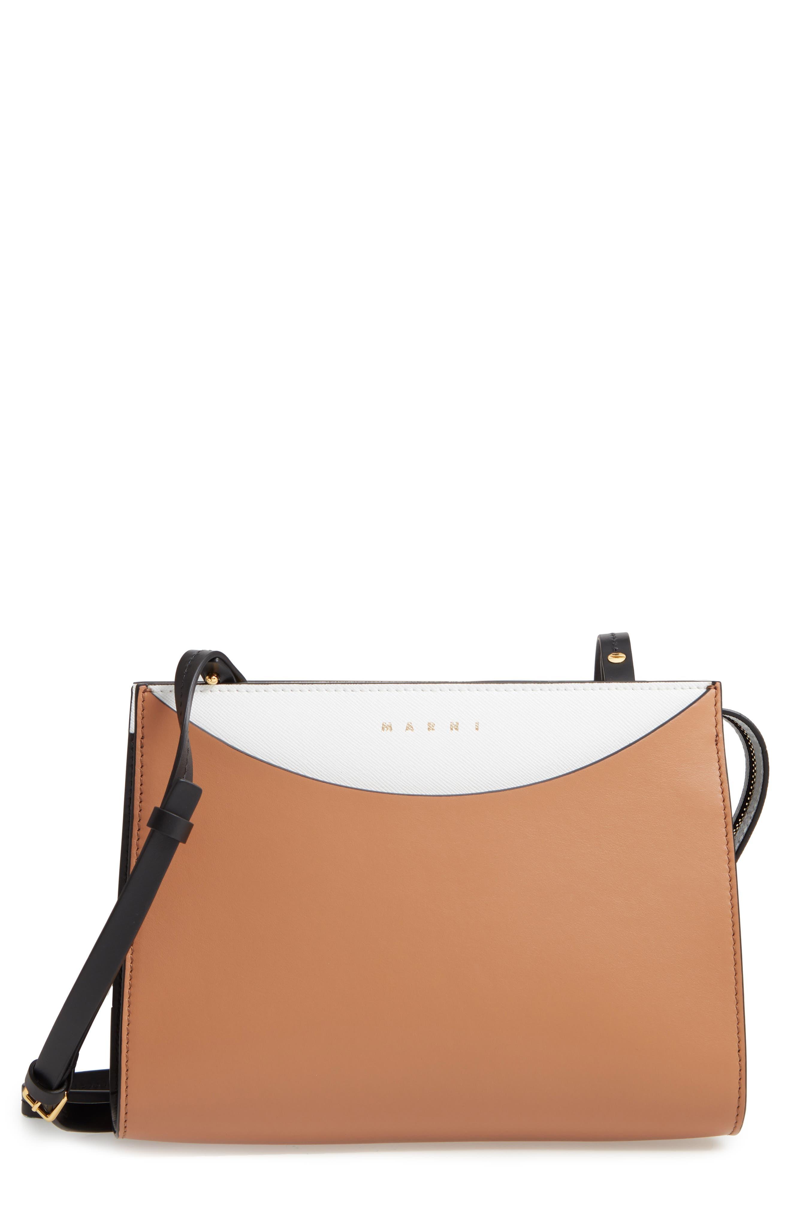MARNI Law Colorblock Leather Clutch, Main, color, POMPEII/ LIMESTONE/ BLACK