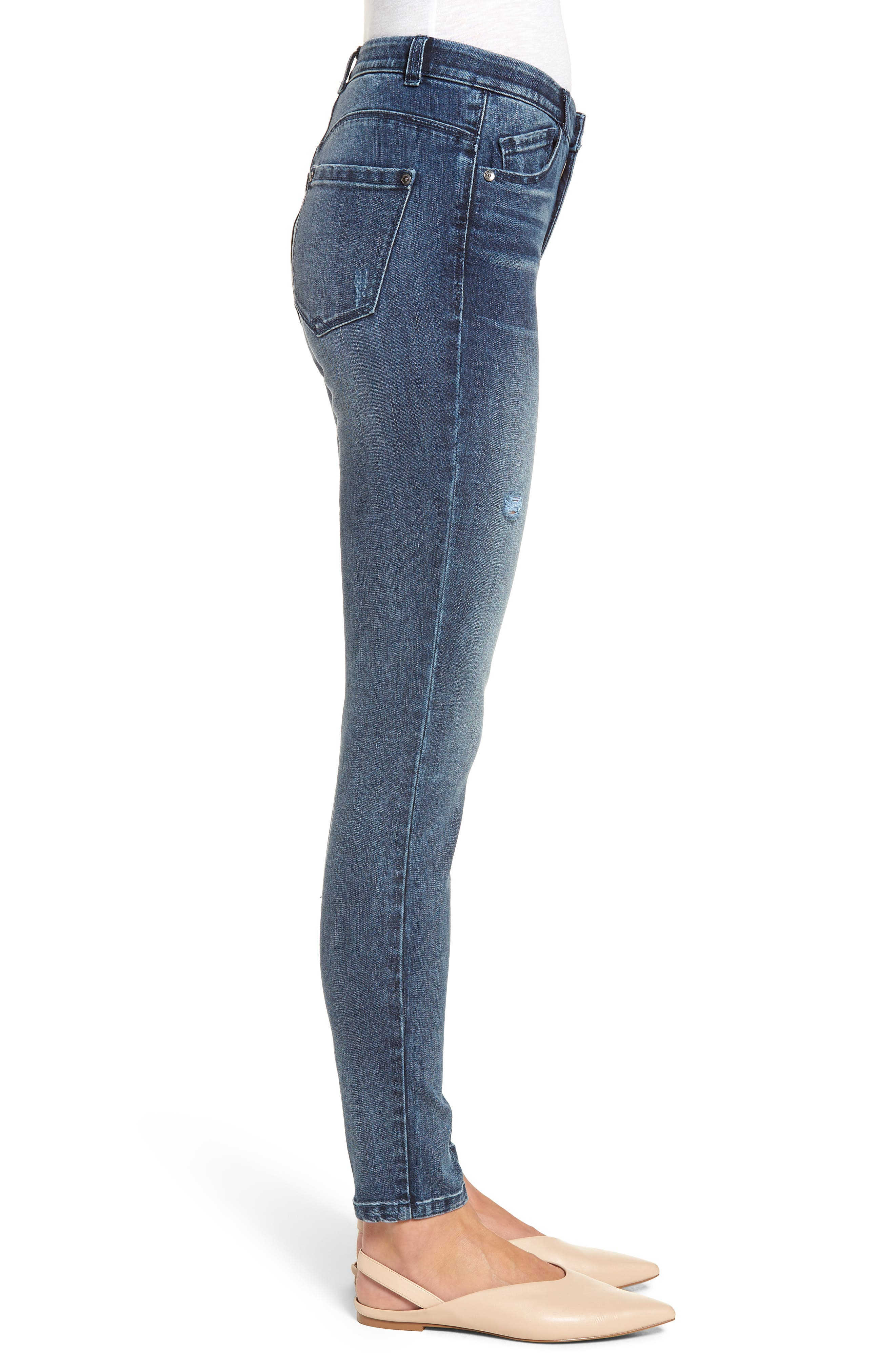 WIT & WISDOM, Ab-Solution High Waist Skinny Jeans, Alternate thumbnail 4, color, BLUE