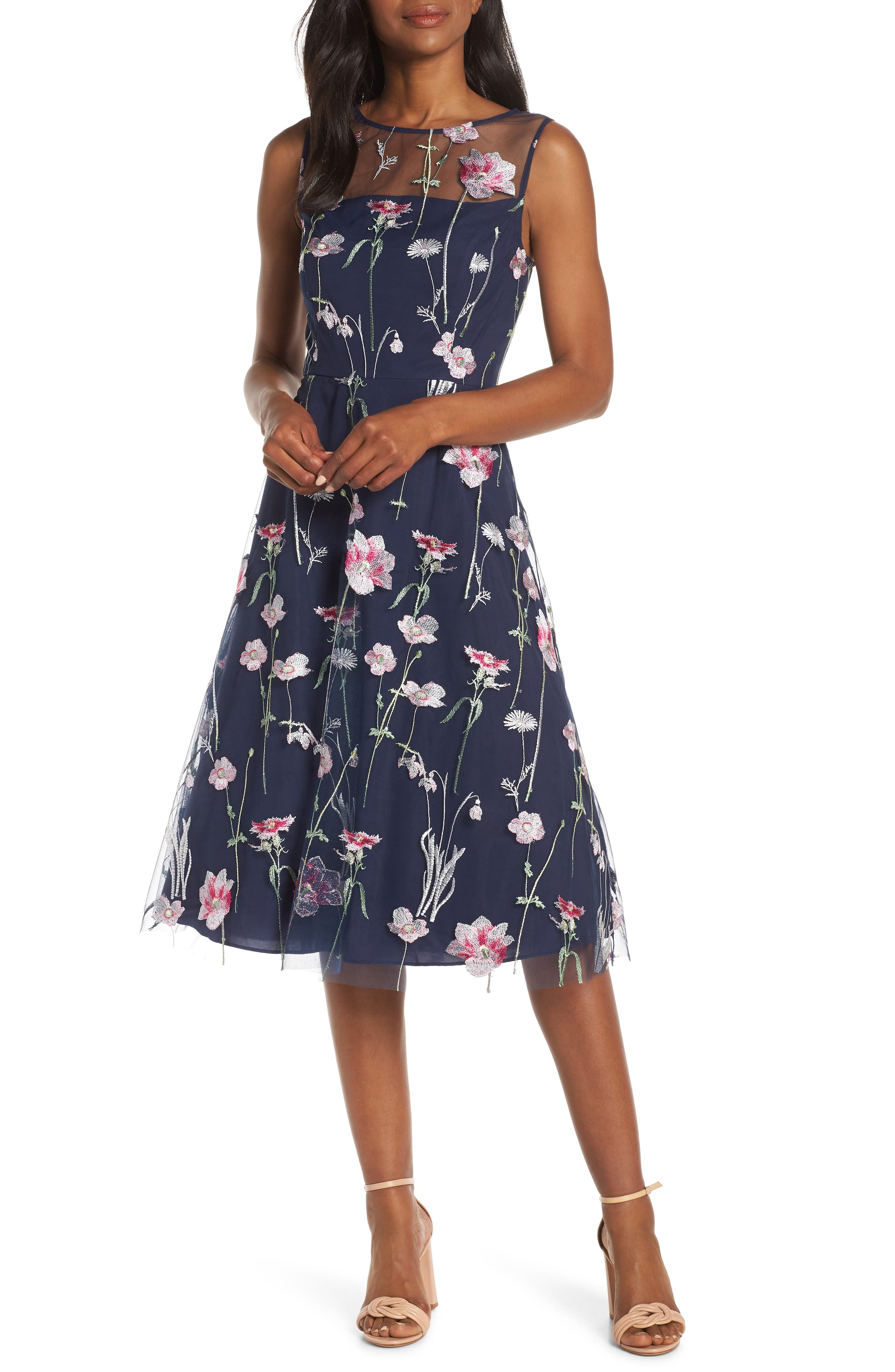 Eliza J Embroidered Floral Sleeveless Dress