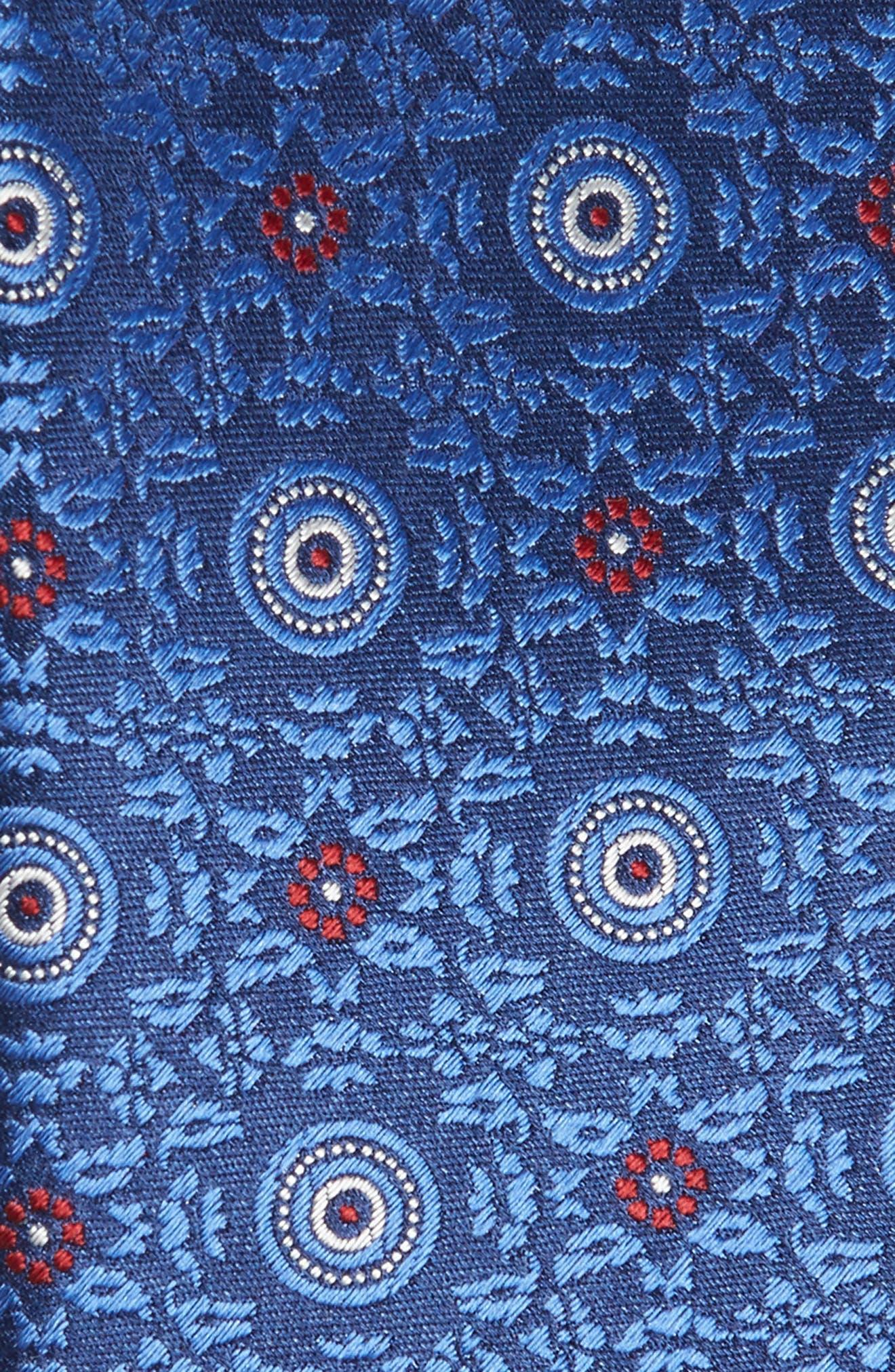 CANALI, Medallion Silk X-Long Tie, Alternate thumbnail 2, color, BLUE