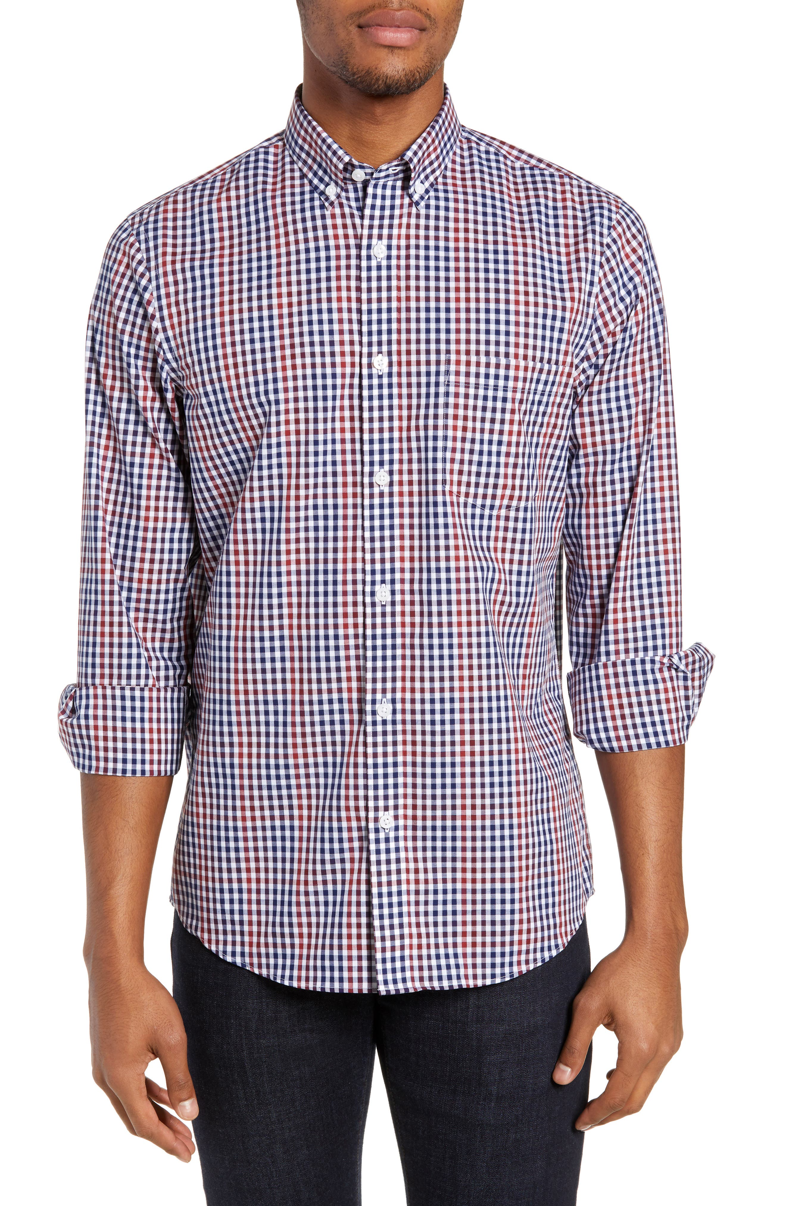 NORDSTROM MEN'S SHOP, Slim Fit Non-Iron Gingham Sport Shirt, Main thumbnail 1, color, 610
