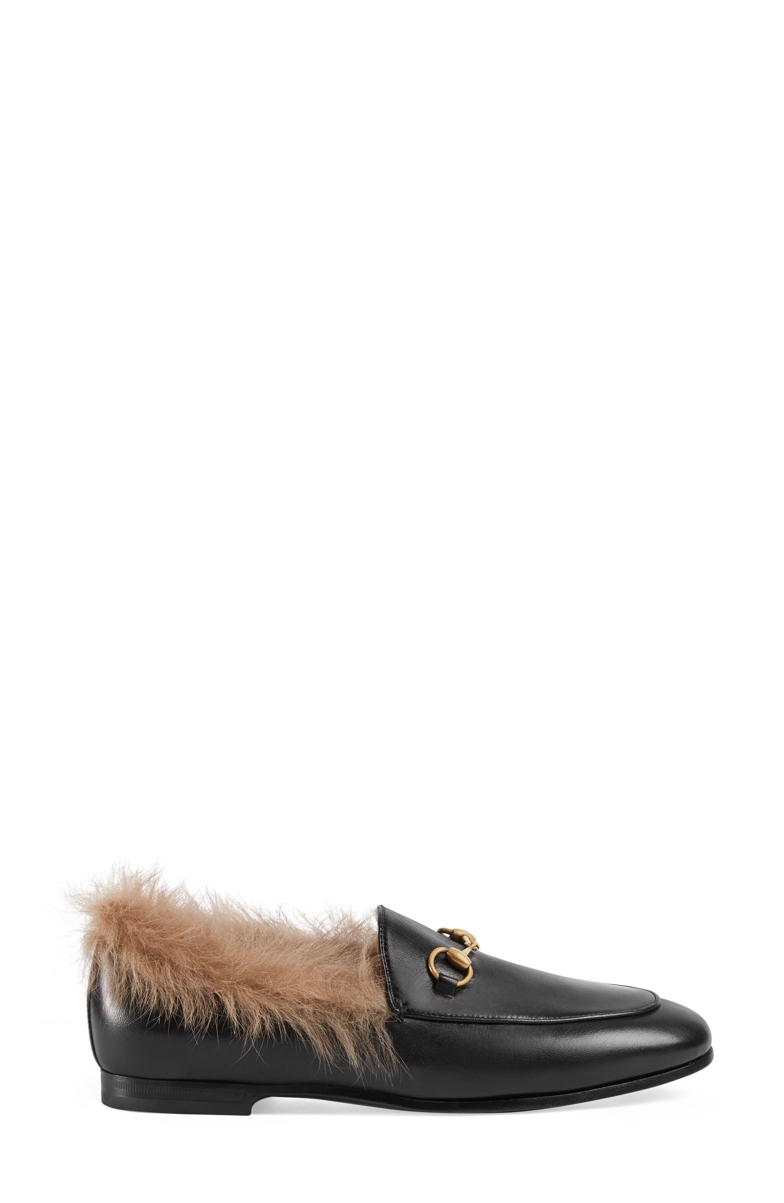 GUCCI, Jordaan Genuine Shearling Lining Loafer, Alternate thumbnail 2, color, BLACK