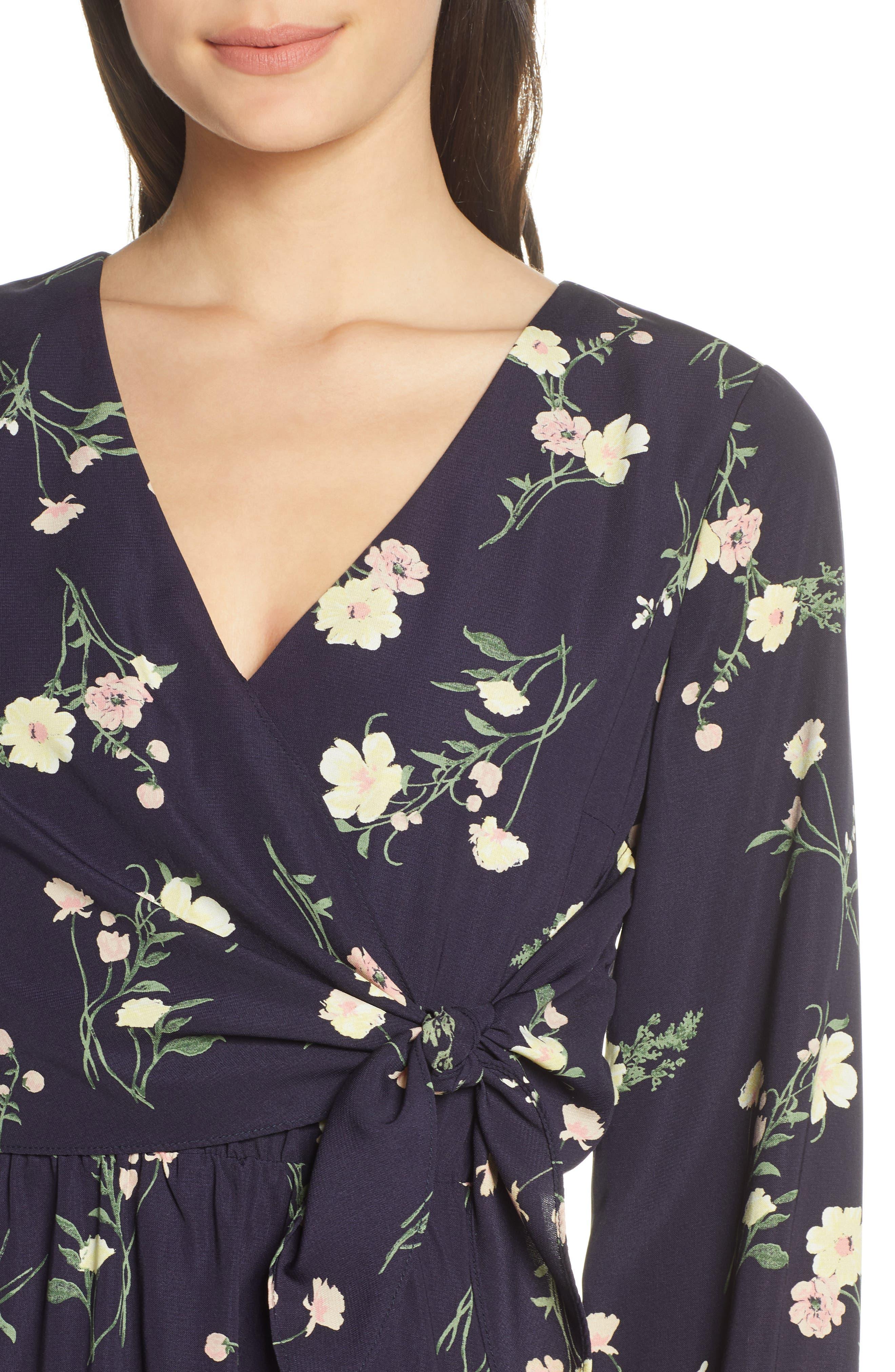 19 COOPER, Long Sleeve Floral Dress, Alternate thumbnail 5, color, NAVY FLORAL