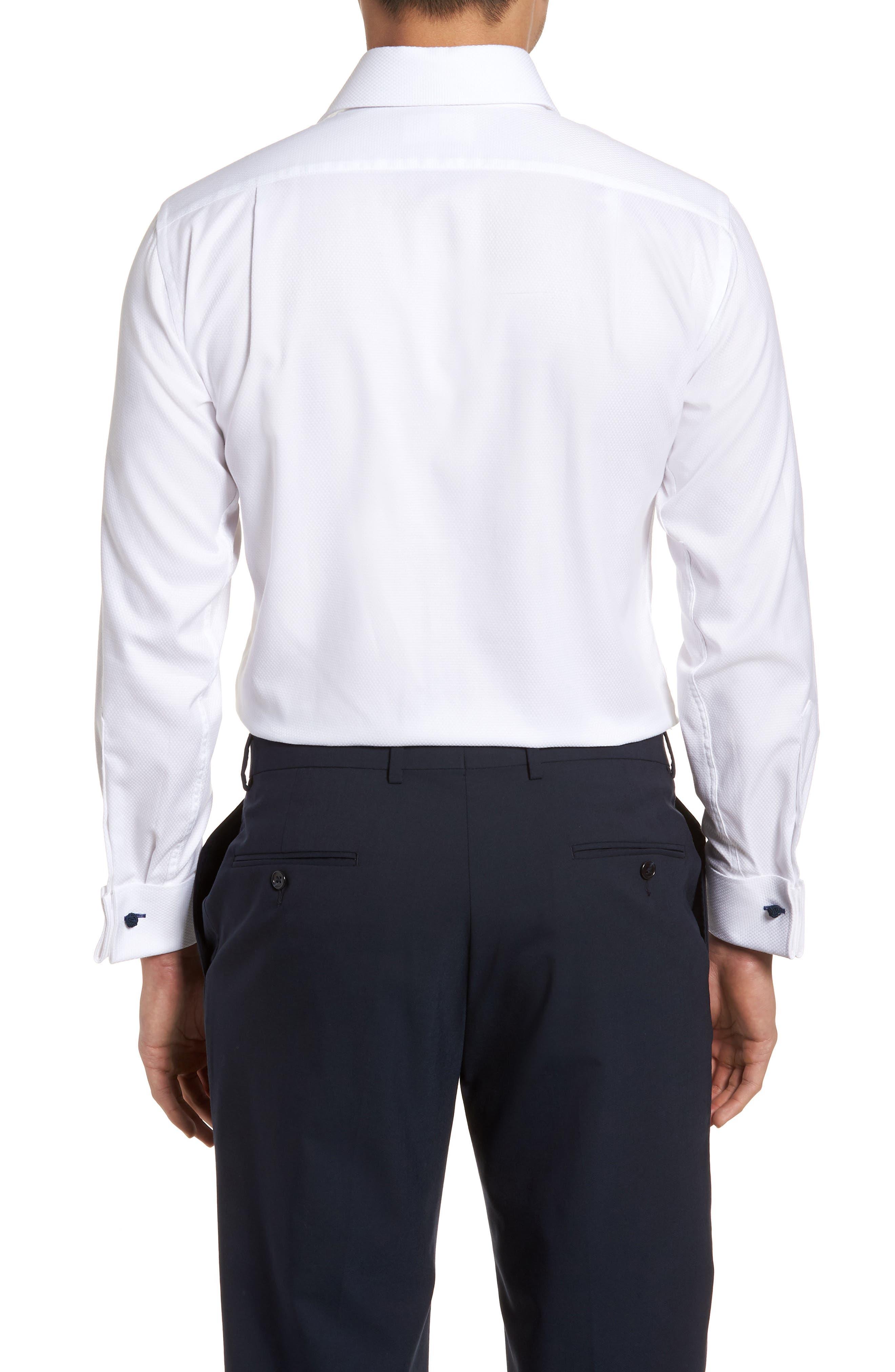 LORENZO UOMO, Trim Fit Basket Weave Dress Shirt, Alternate thumbnail 3, color, WHITE