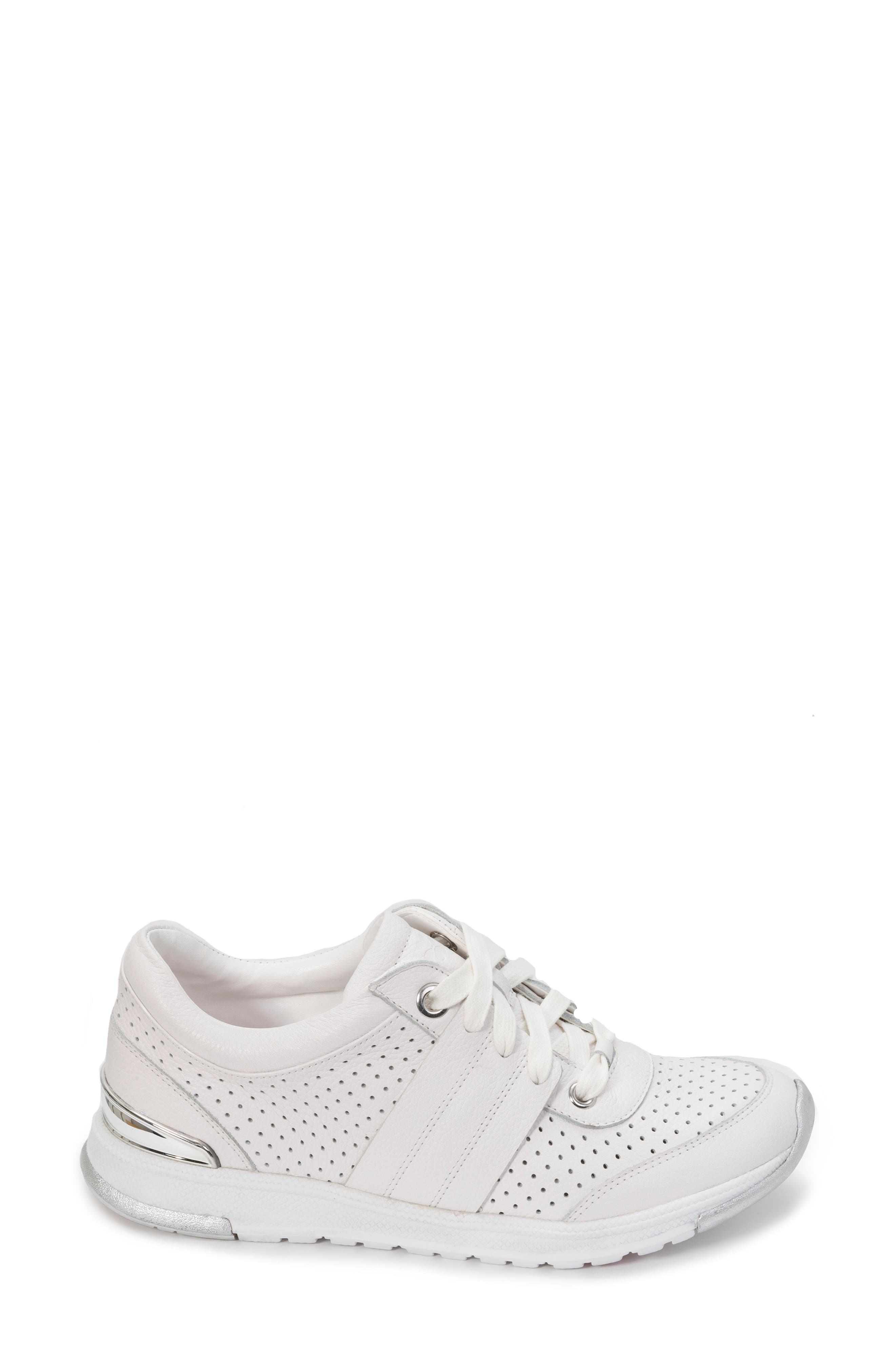 FOOT PETALS, Bea Sneaker, Alternate thumbnail 3, color, WHITE LEATHER