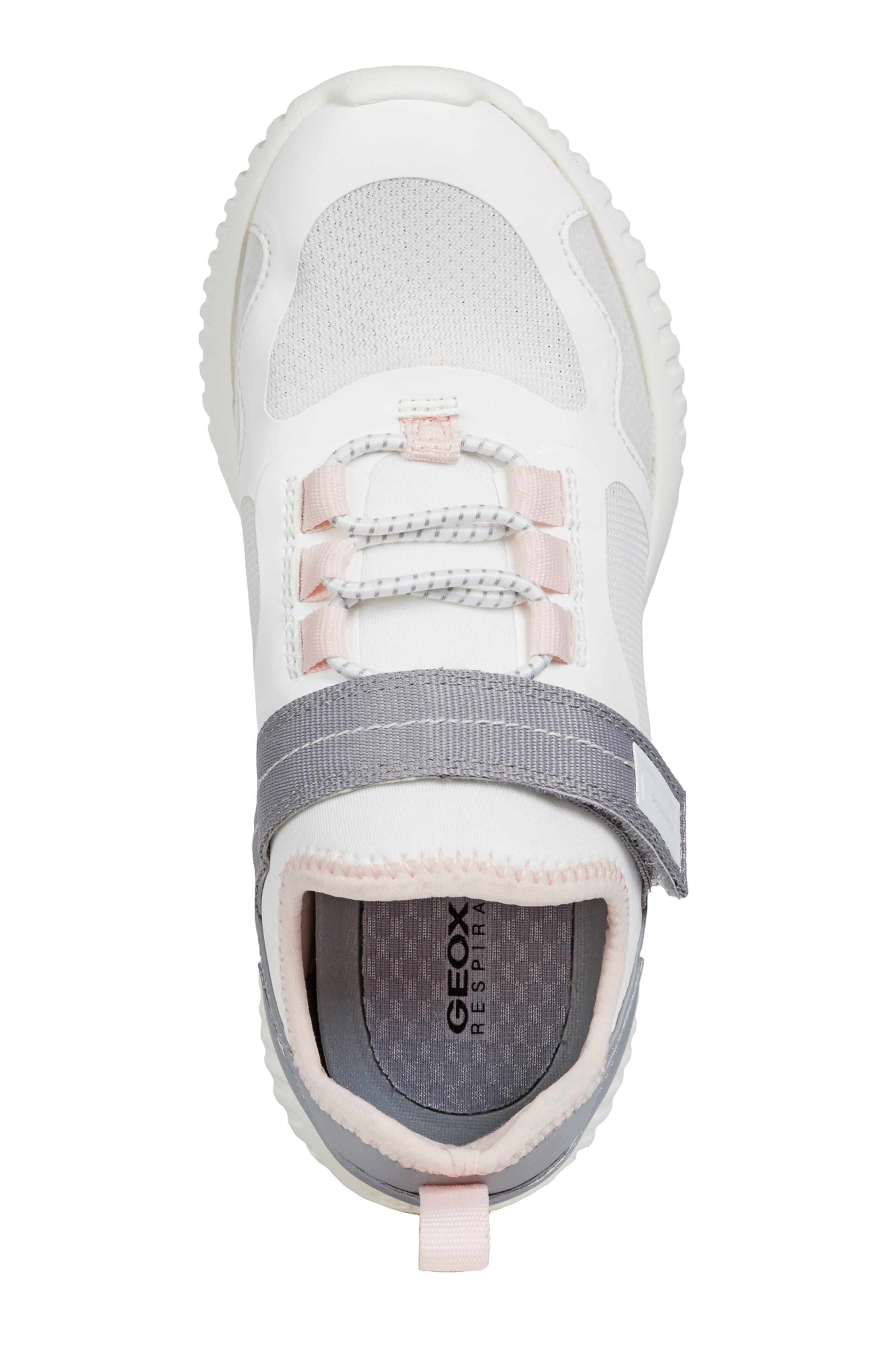 GEOX, Waviness Sneaker, Alternate thumbnail 5, color, WHITE/ GREY