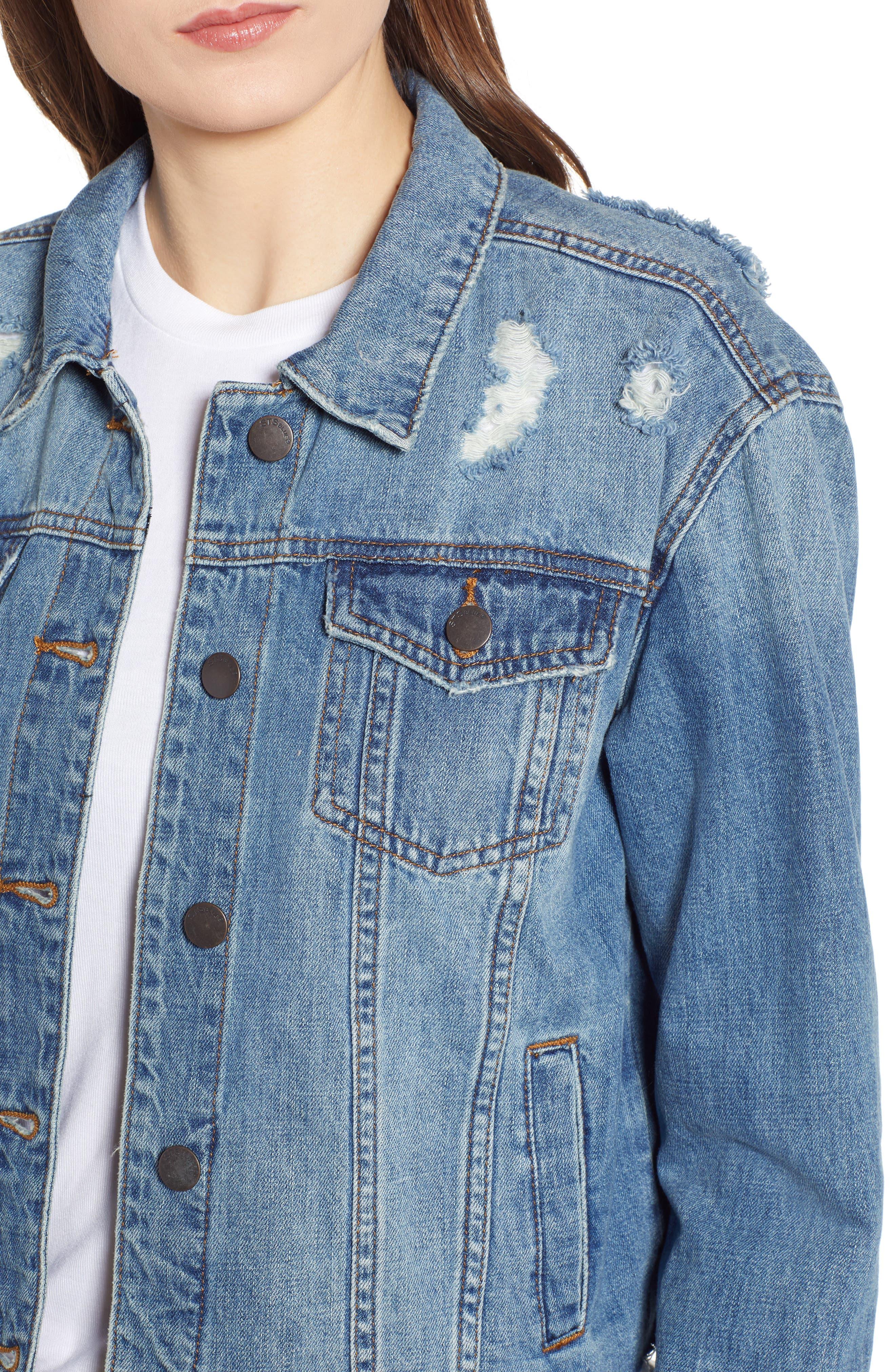 STS BLUE, Boyfriend Crop Denim Jacket, Alternate thumbnail 5, color, 400