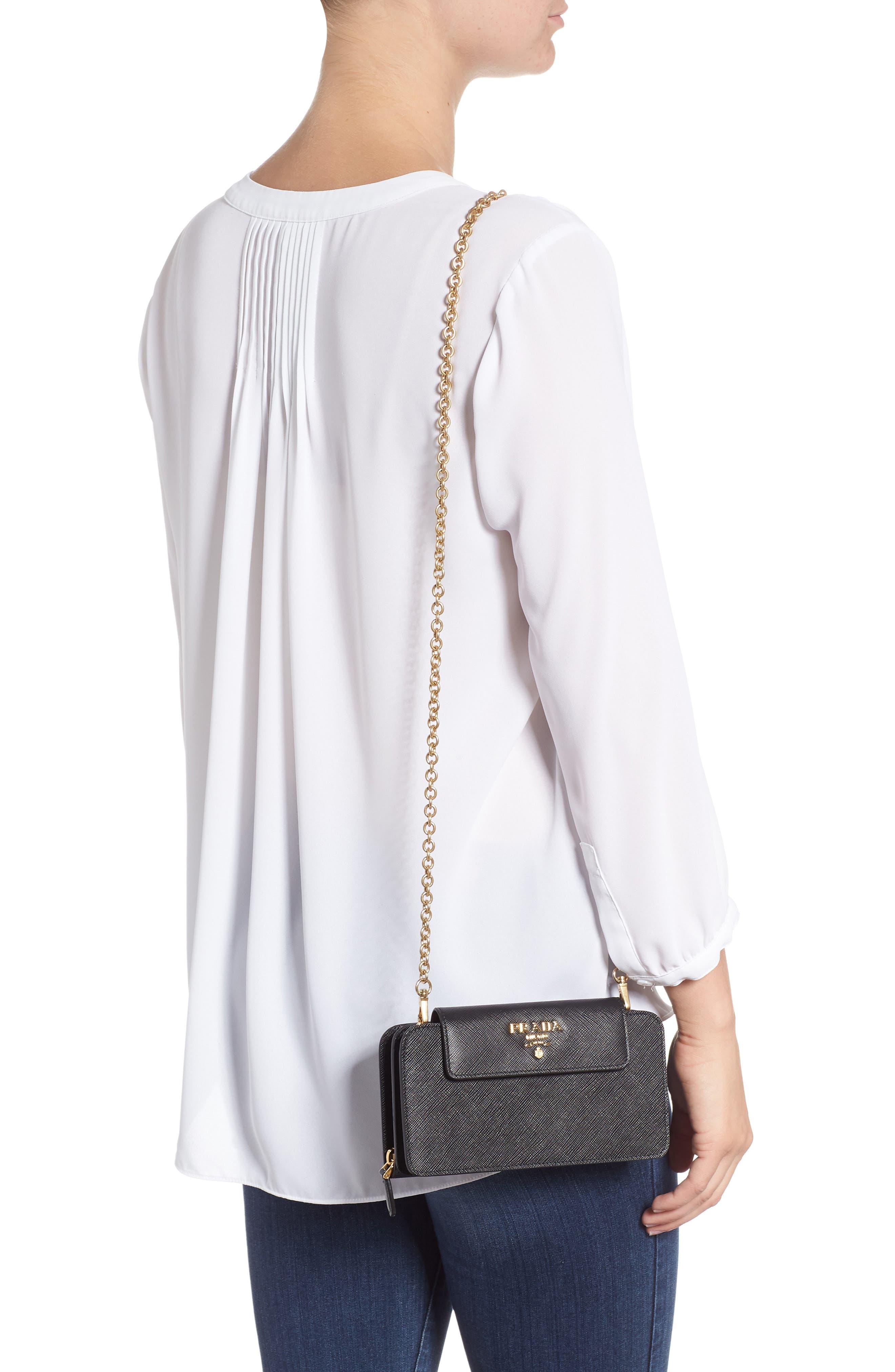 PRADA, Saffiano Leather Wallet on a Chain, Alternate thumbnail 2, color, NERO