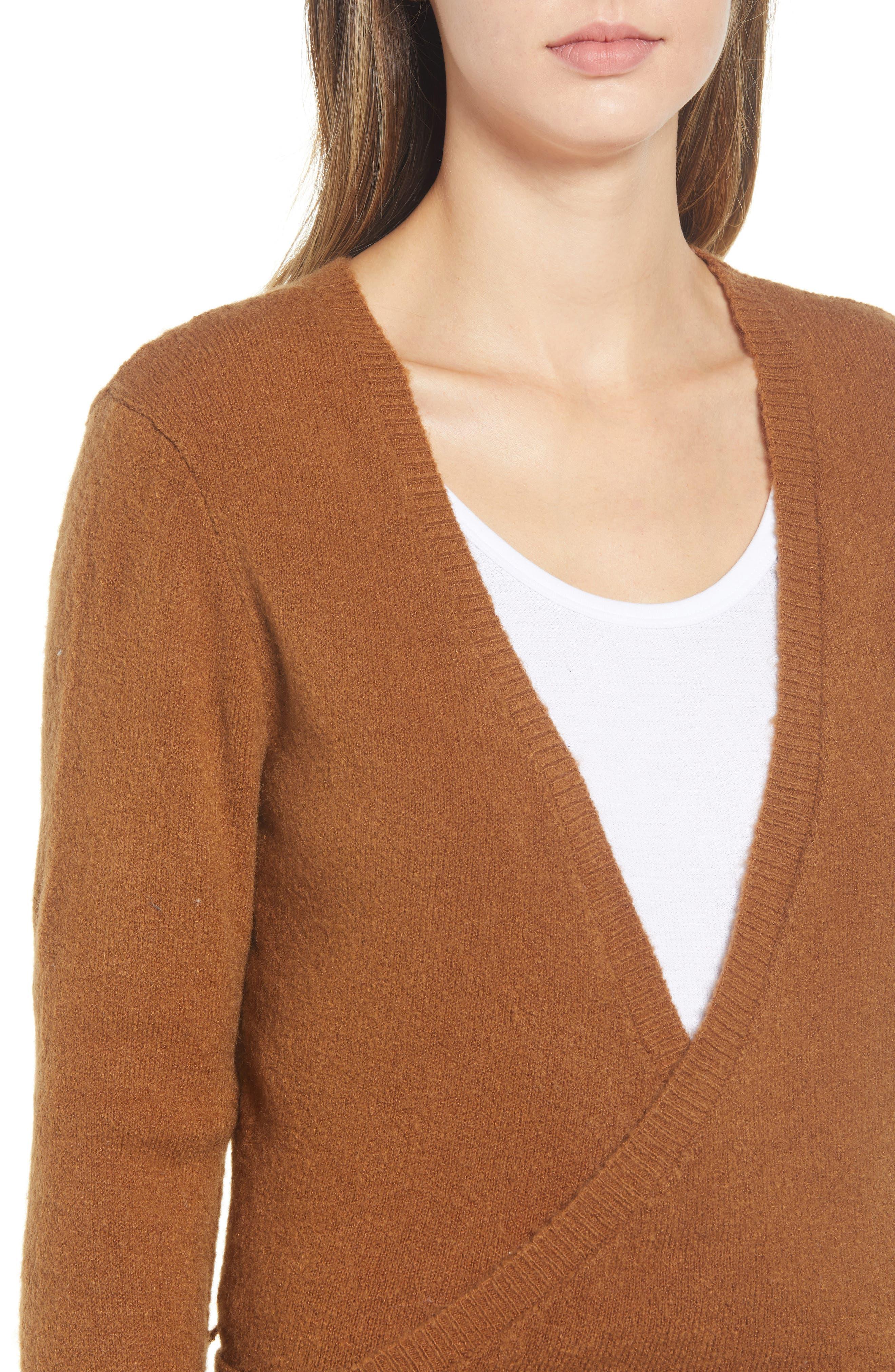 RVCA, The Fuz Wrap Sweater, Alternate thumbnail 4, color, 200