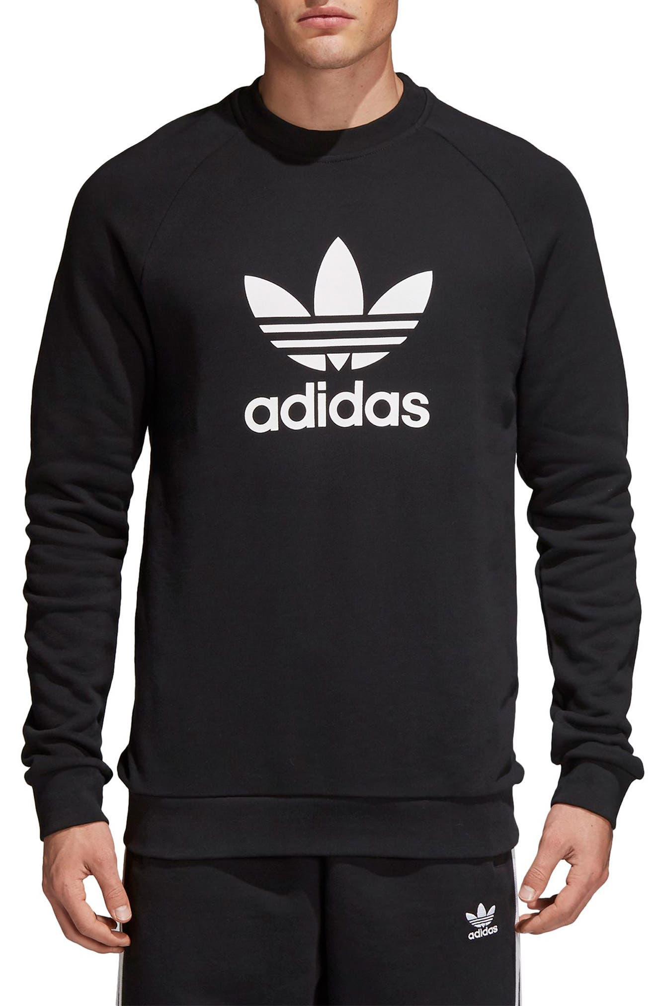 ADIDAS ORIGINALS, Trefoil Sweatshirt, Main thumbnail 1, color, BLACK
